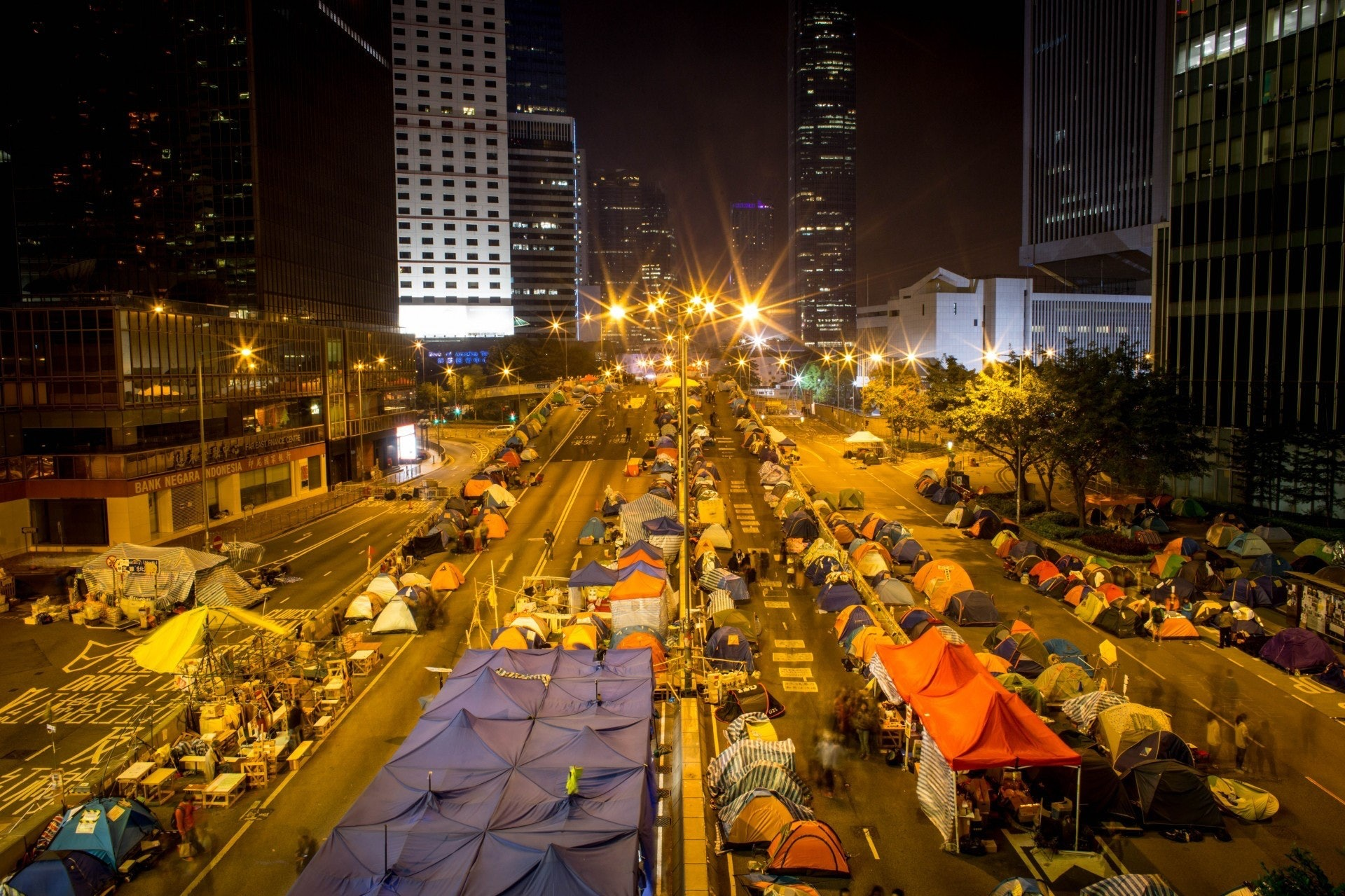 雨傘運動為香港歷史上最大型的公民抗命,歷時79天。(資料圖片/GettyImages)