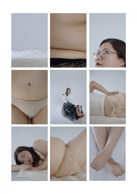 「身體是一個地圖,每一個部份都是故事。」Carmen說。攝影師認為每一個身體都是獨特。一位殘障人士的身體,因為長期坐著,身體變得肥腫,而且缺乏肌肉,肚皮軟綿像棉花糖,皮膚滿佈紋理,而這些質感都是殘障者獨有的美態。