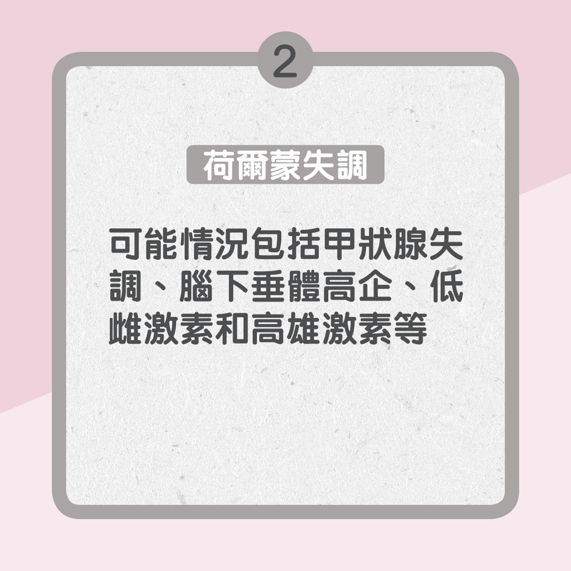 2. 荷爾蒙失調:可能情況包括甲狀腺失調、腦下垂體高企、低雌激素和高雄激素等(01製圖)