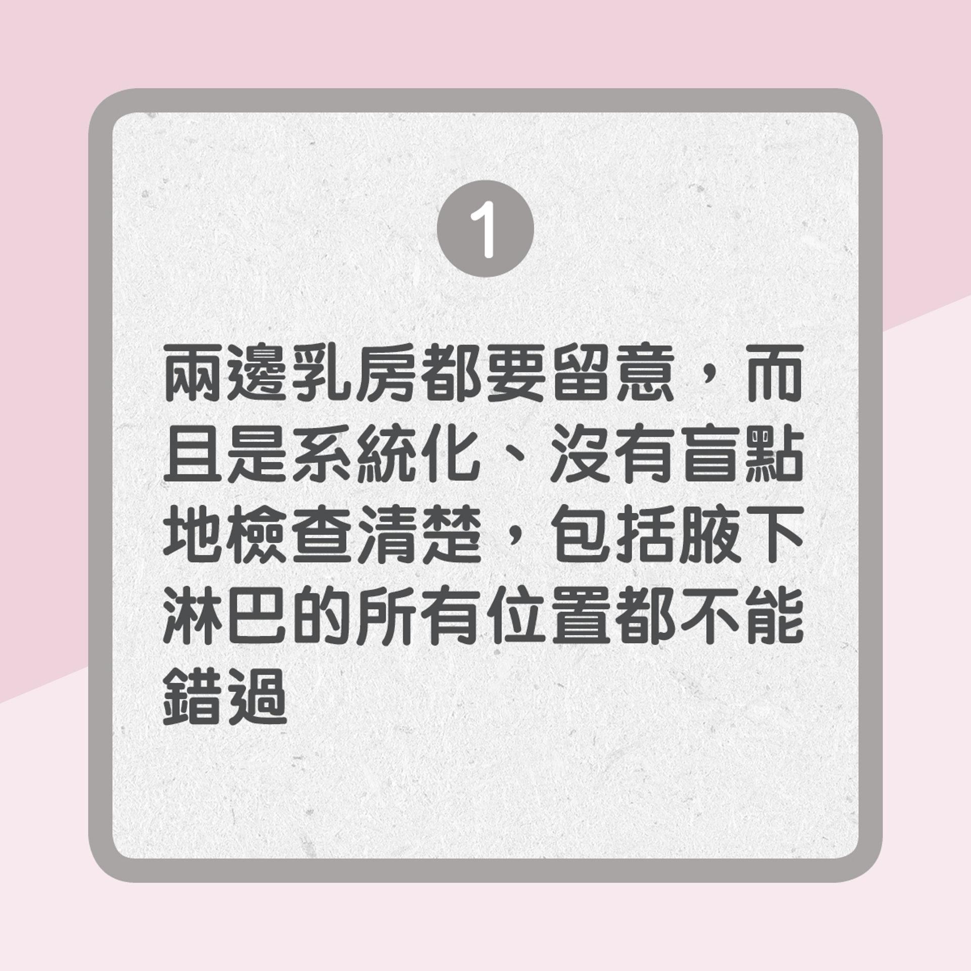 【自我檢查乳房3大原則】1. 兩邊乳房都要留意,而且是系統化、沒有盲點地檢查清楚,包括腋下淋巴的所有位置都不能錯過(01製圖)