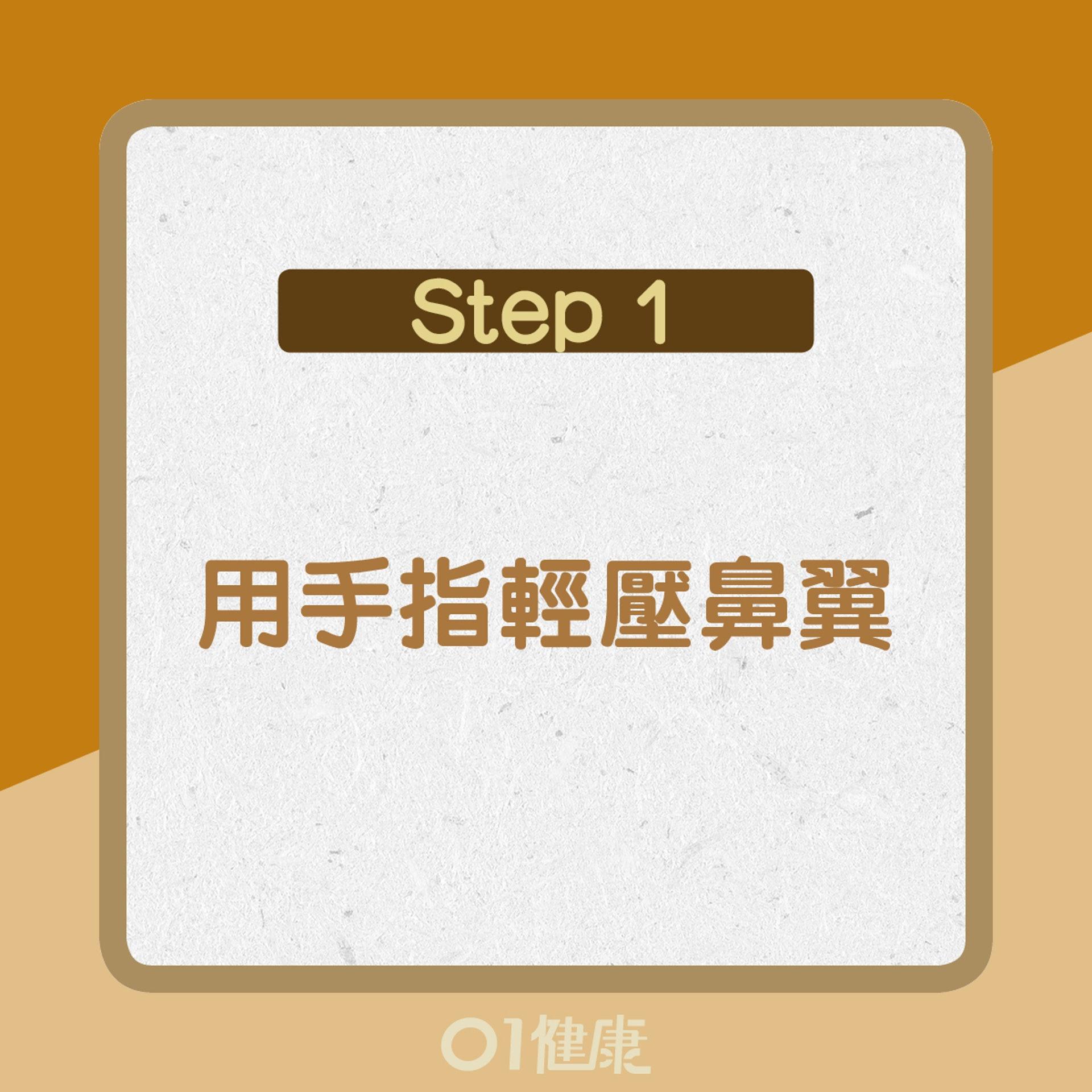 【流鼻血處理方法】1. 用手指輕壓鼻翼(01製圖)