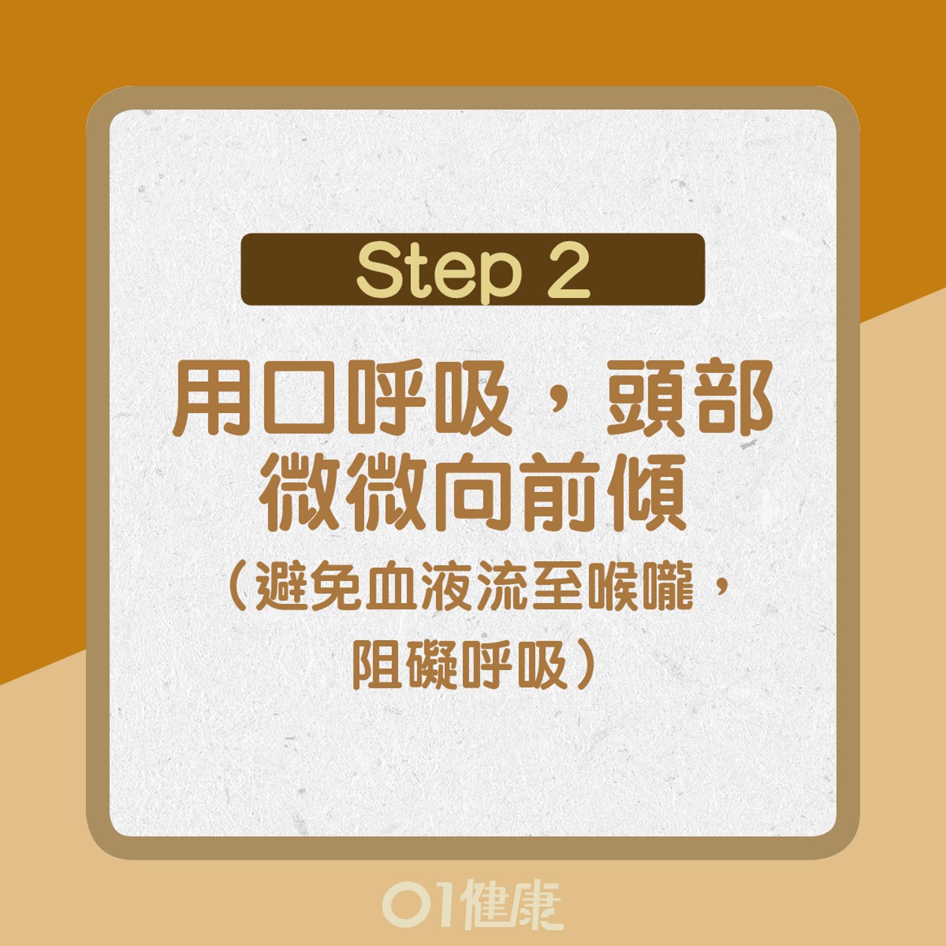 【流鼻血處理方法】2. 用口呼吸,頭部微微向前傾(01製圖)