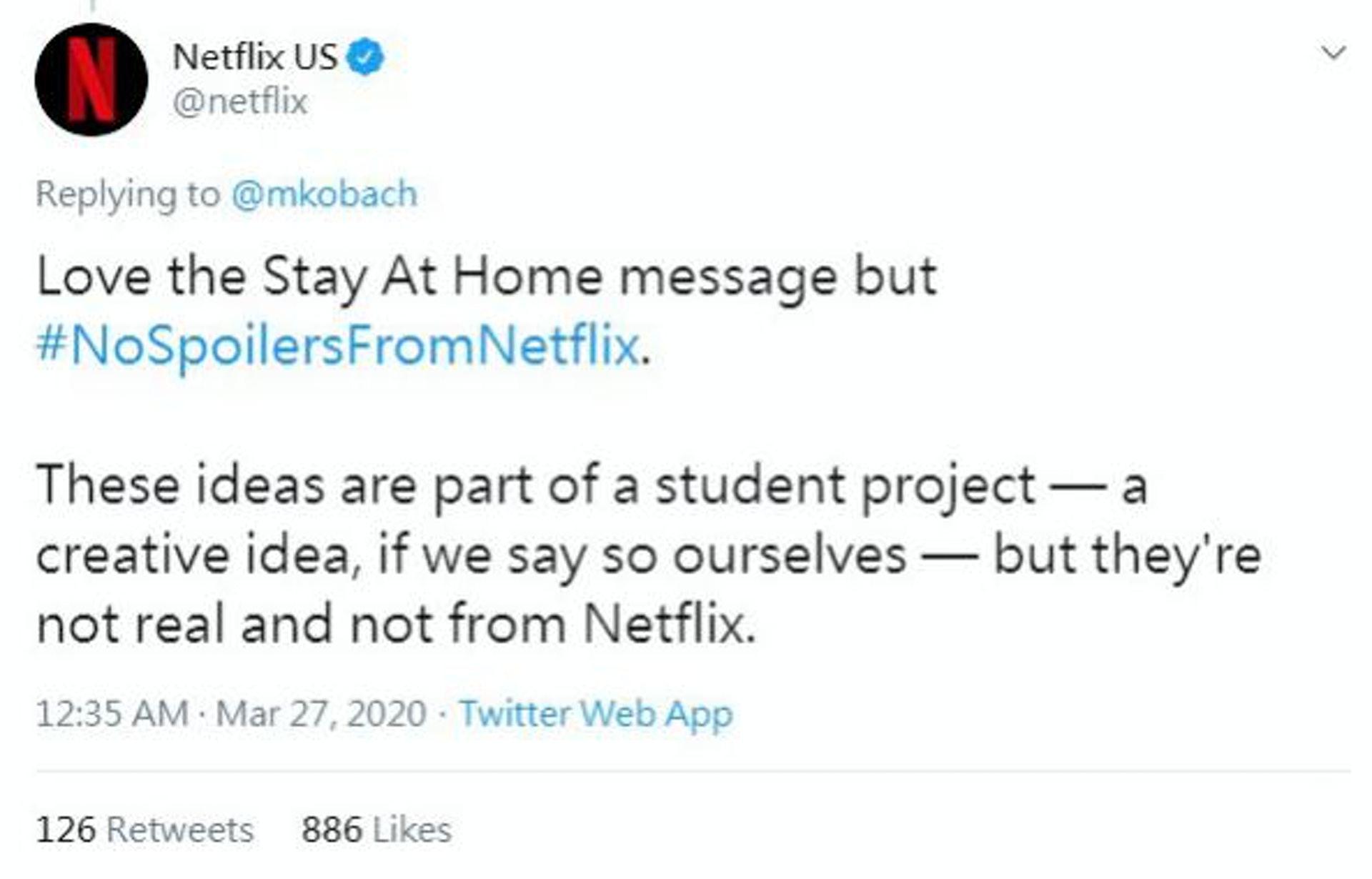 Netflix都在Twitter大讚這個劇透廣告。(Twitter圖片)