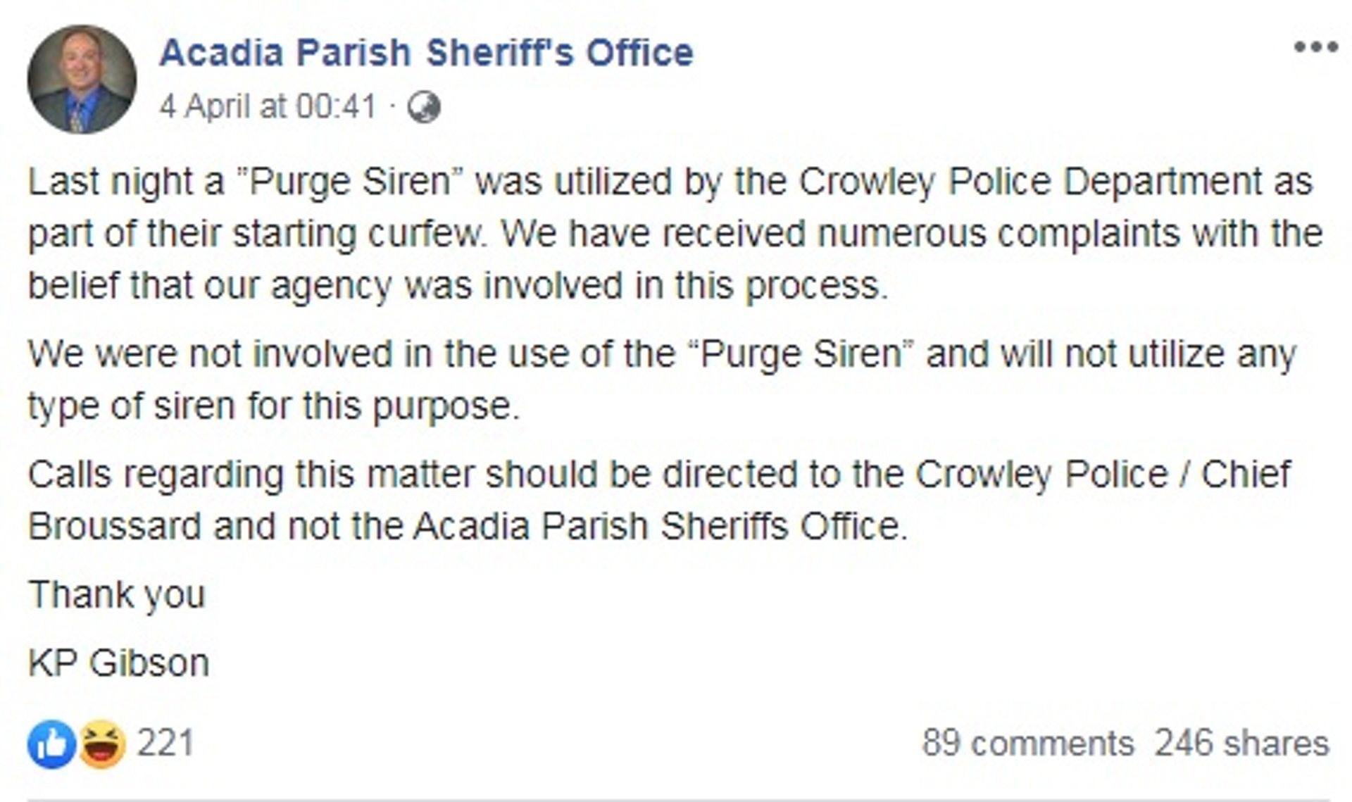 阿卡迪亞警長辦公室急急澄清。(Acadia Parish Sheriff's Office Facebook 擷圖)