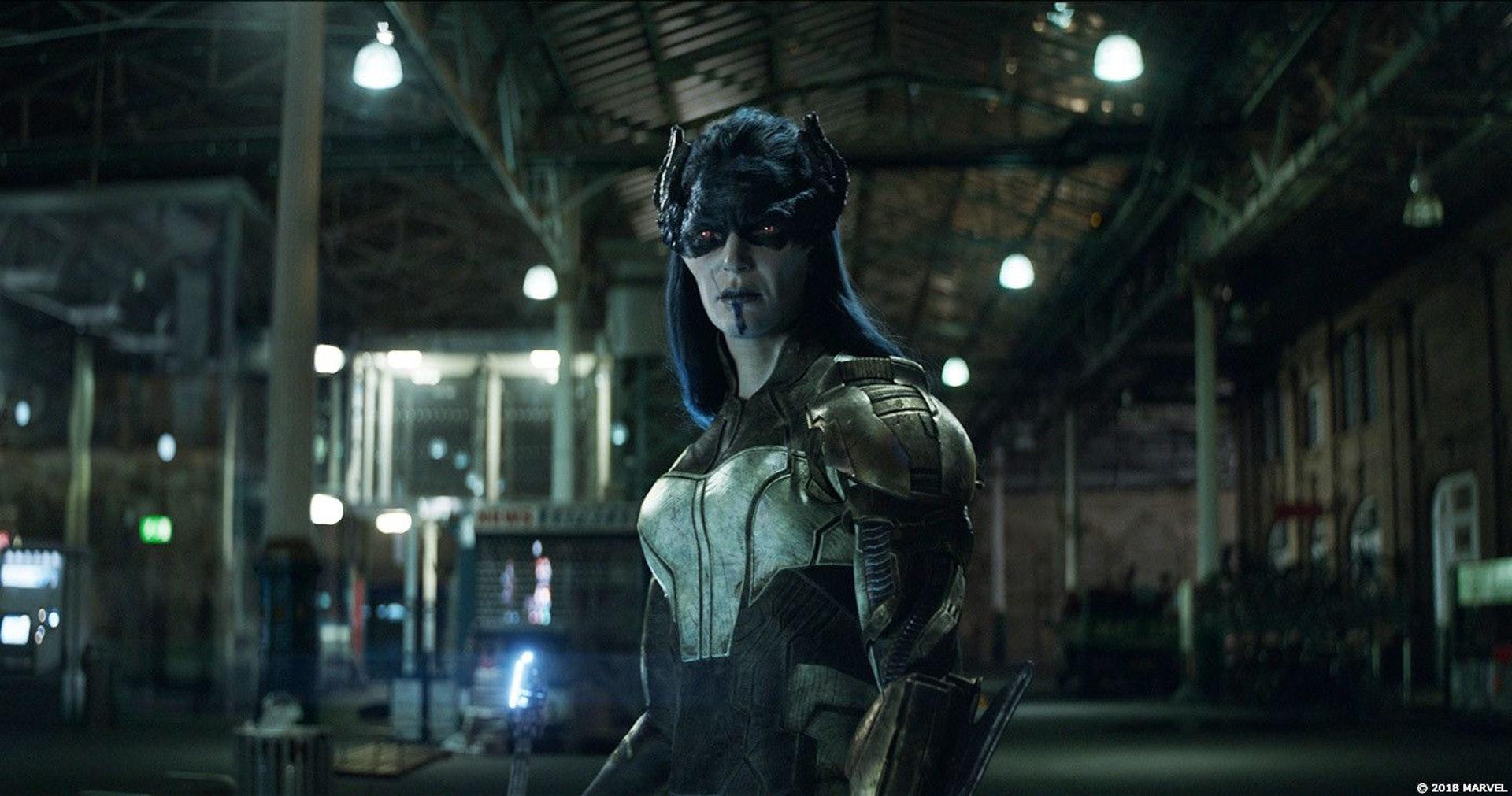 Monique Ganderton在《復仇者聯盟3》中飾演反派Proxima Midnight。(《復仇者聯盟3:無限之戰》劇照)
