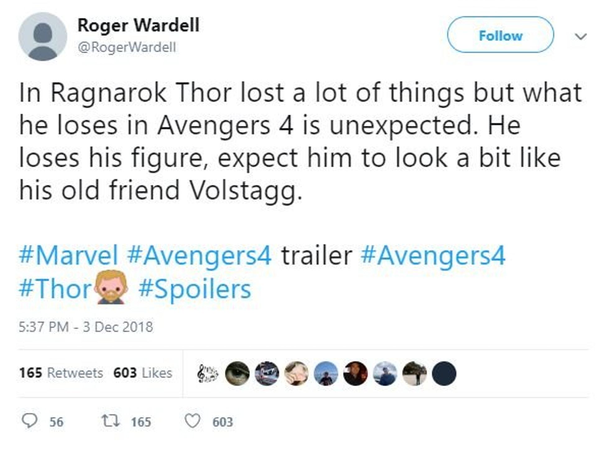 Roger Wardell在2018年劇透「雷神」完美體型不保。(RogerWardell Twitter 擷圖)