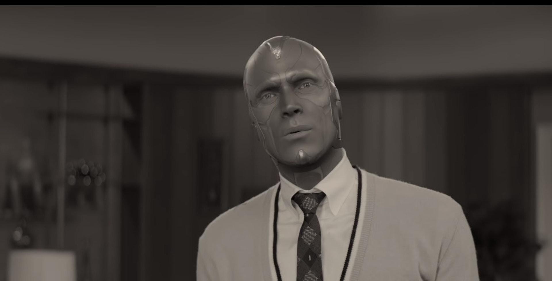 幻视在《复仇者联盟3》已经死去,究竟他是幻象还是真人呢?(《WandaVision》剧照)