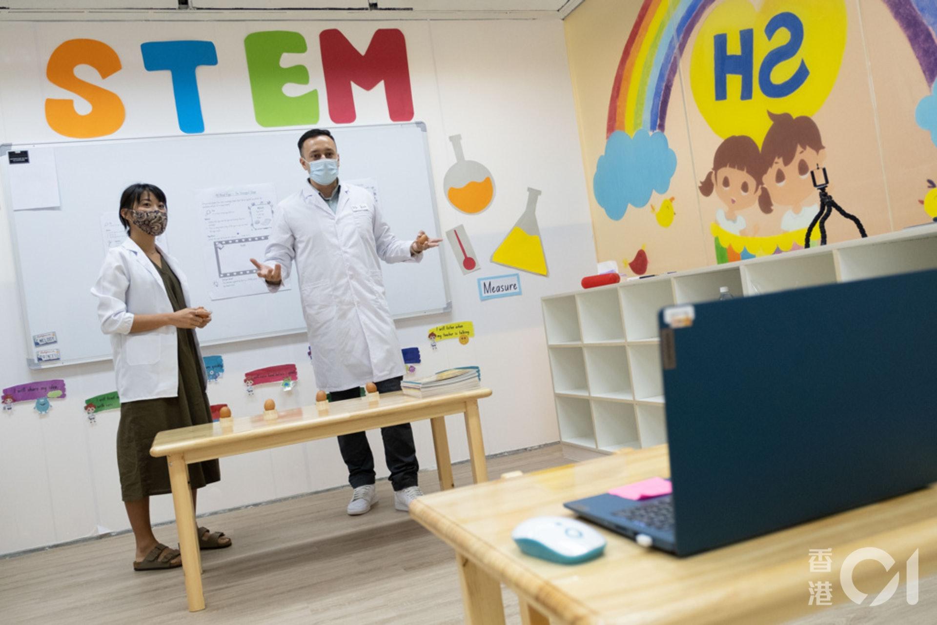 德萃幼稚園以英語為主要教學語言,網課期間,周四會集中教數學或科學小知識。(盧翊銘攝)