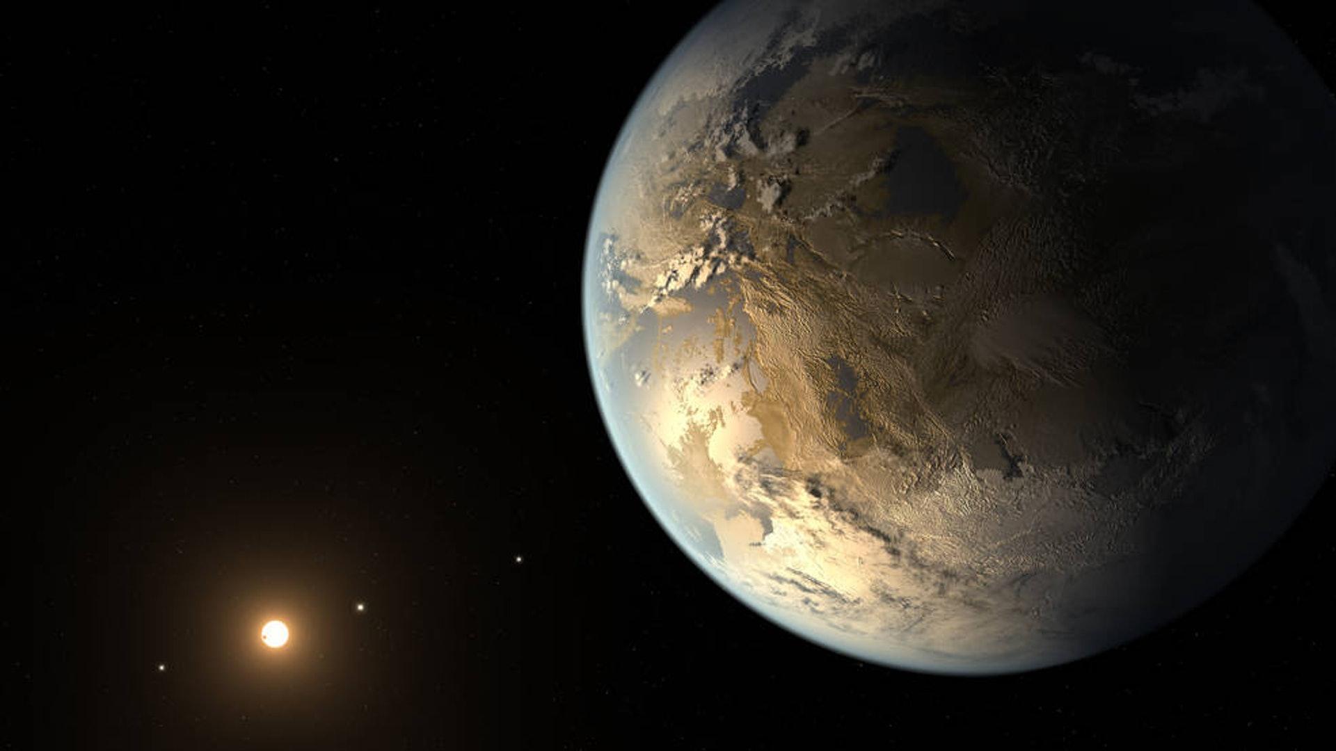 美國太空總署(NASA)近年積極透過開普勒太空望遠鏡,嘗試尋找「地球2.0」, 圖為畫家筆下的開普勒186-f。(美國太空總署)