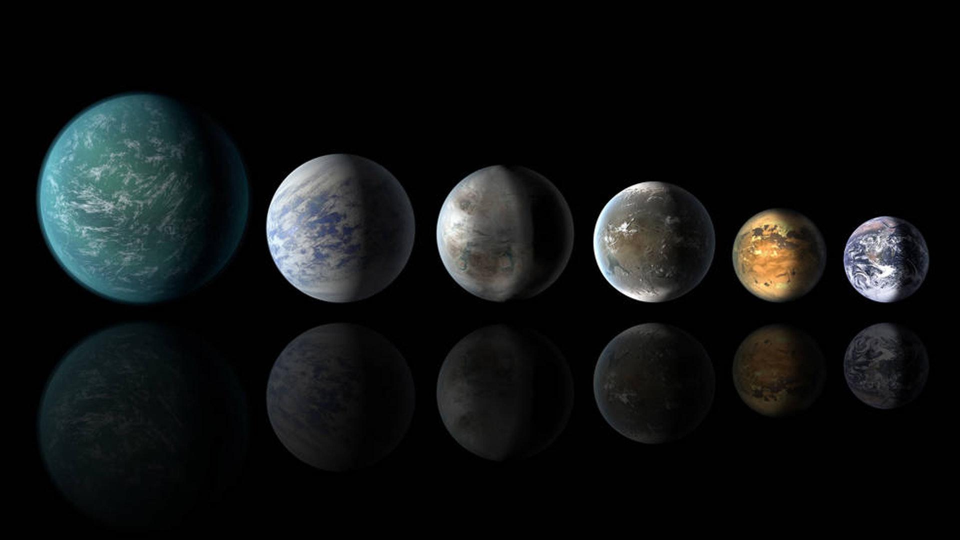 畫下筆下類似地球的宜居星體(左起):開普勒-22b,開普勒-69c,開普勒-452b,開普勒-62f 和開普勒-186f,右為地球。(美國太空總署)