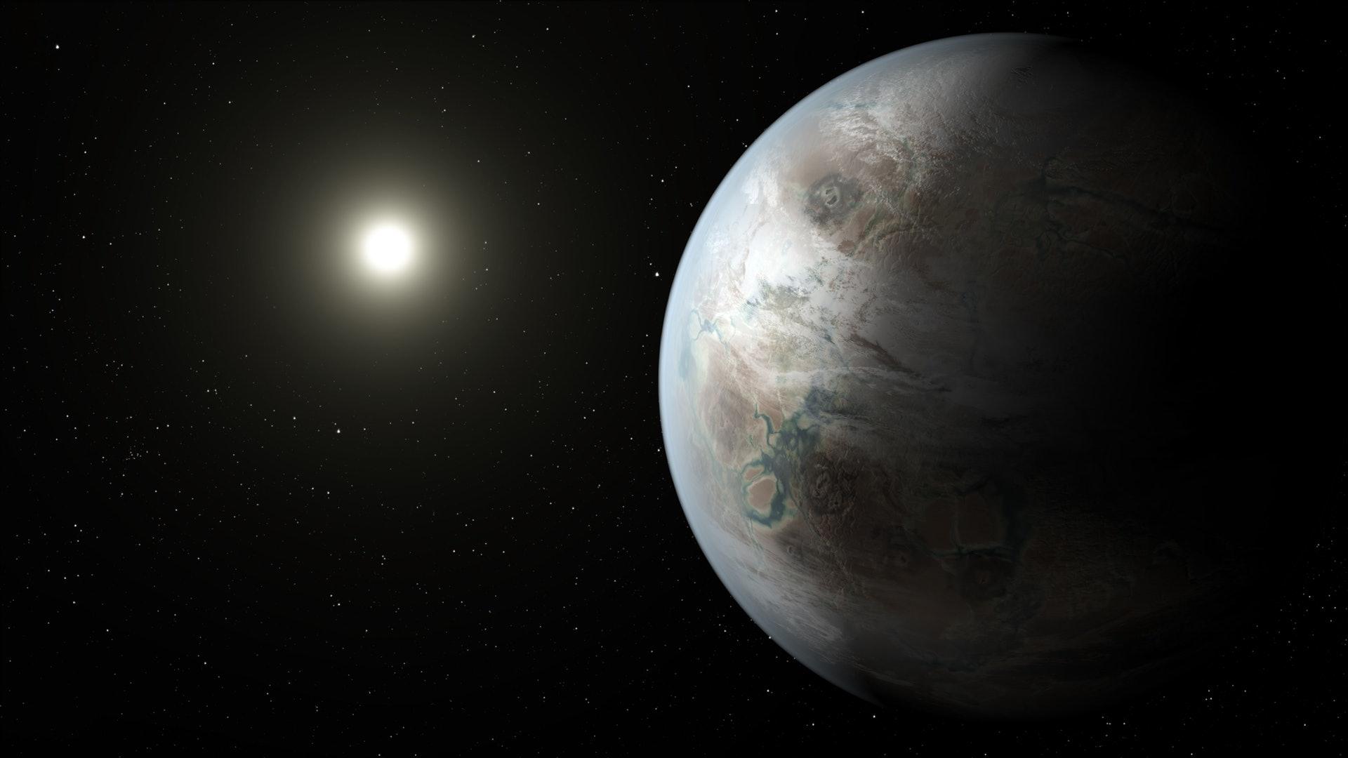 開普勒452-b被譽為最近似地球的星體,但它位於距地太陽系1400光年的地方,以現有太空船的速度需要2600年才能到達。圖為畫家筆下的開普勒452-b。(美聯社)