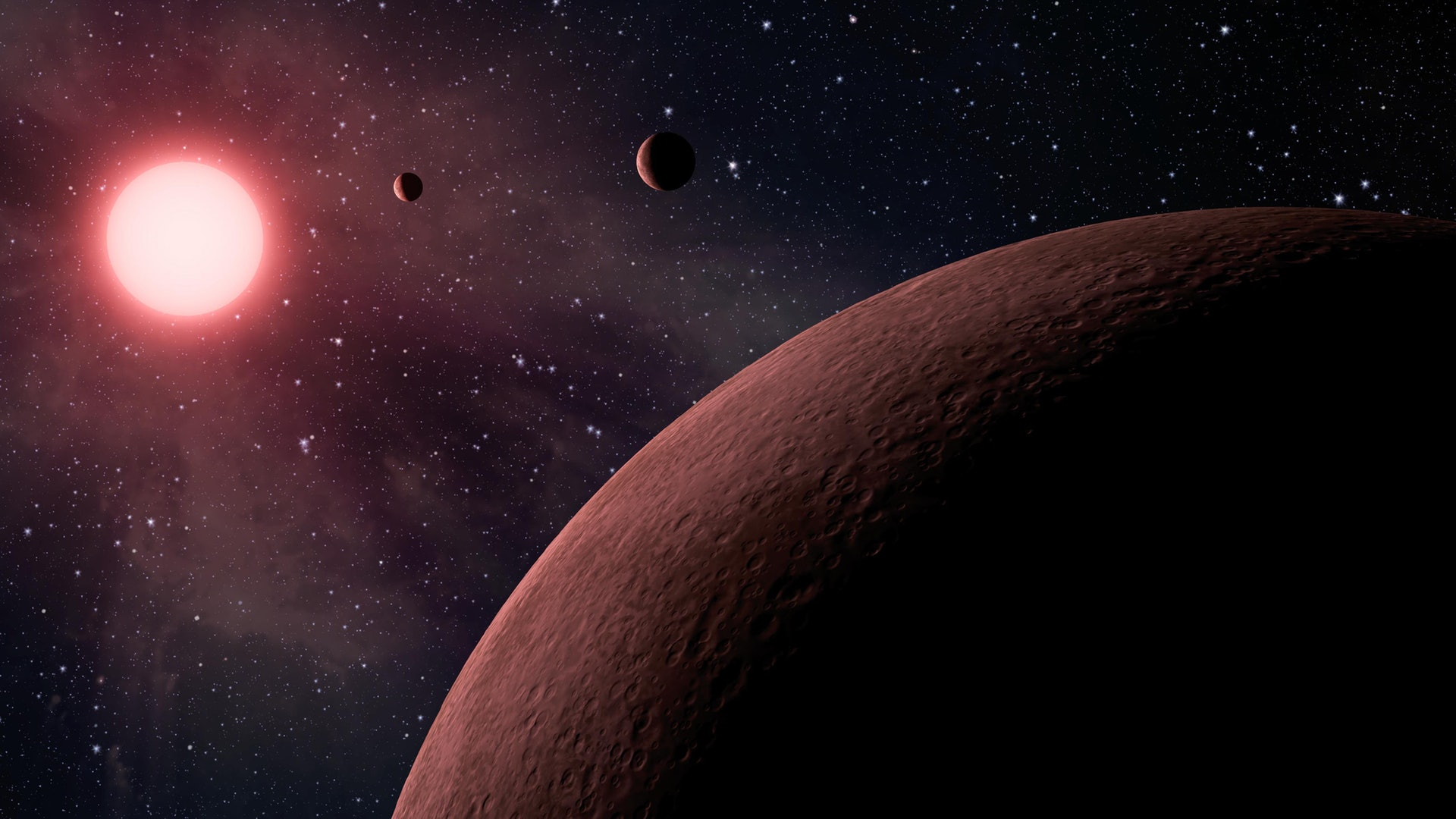 NASA科學家在太陽系以外找出219個潛在新星球,其中10個位處宜居區域,有機會成為「地球2.0」。圖為畫家筆下所展示的部分新星體。(美聯社)