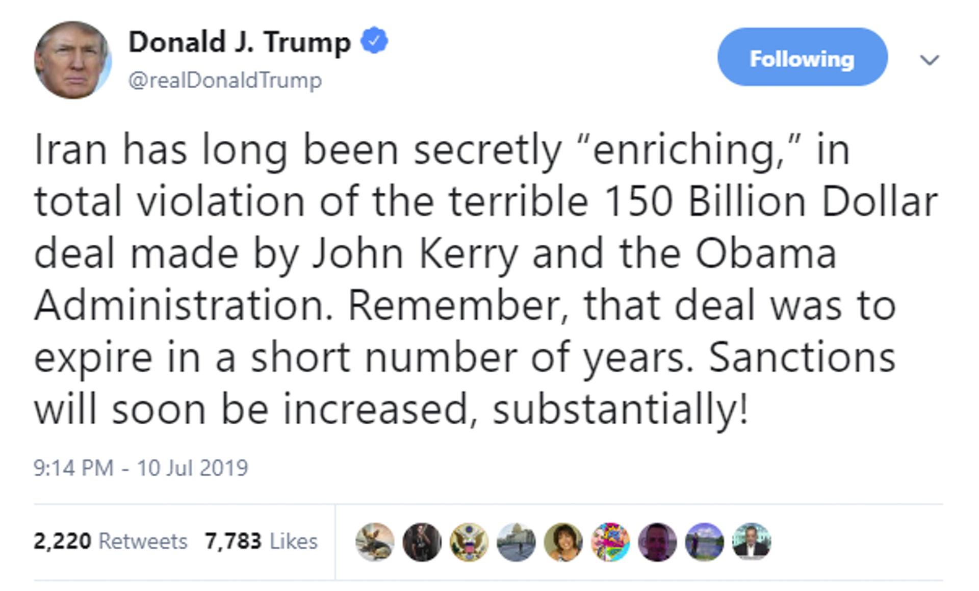 特朗普指很快再加强制裁伊朗(图源:特朗普Twitter)