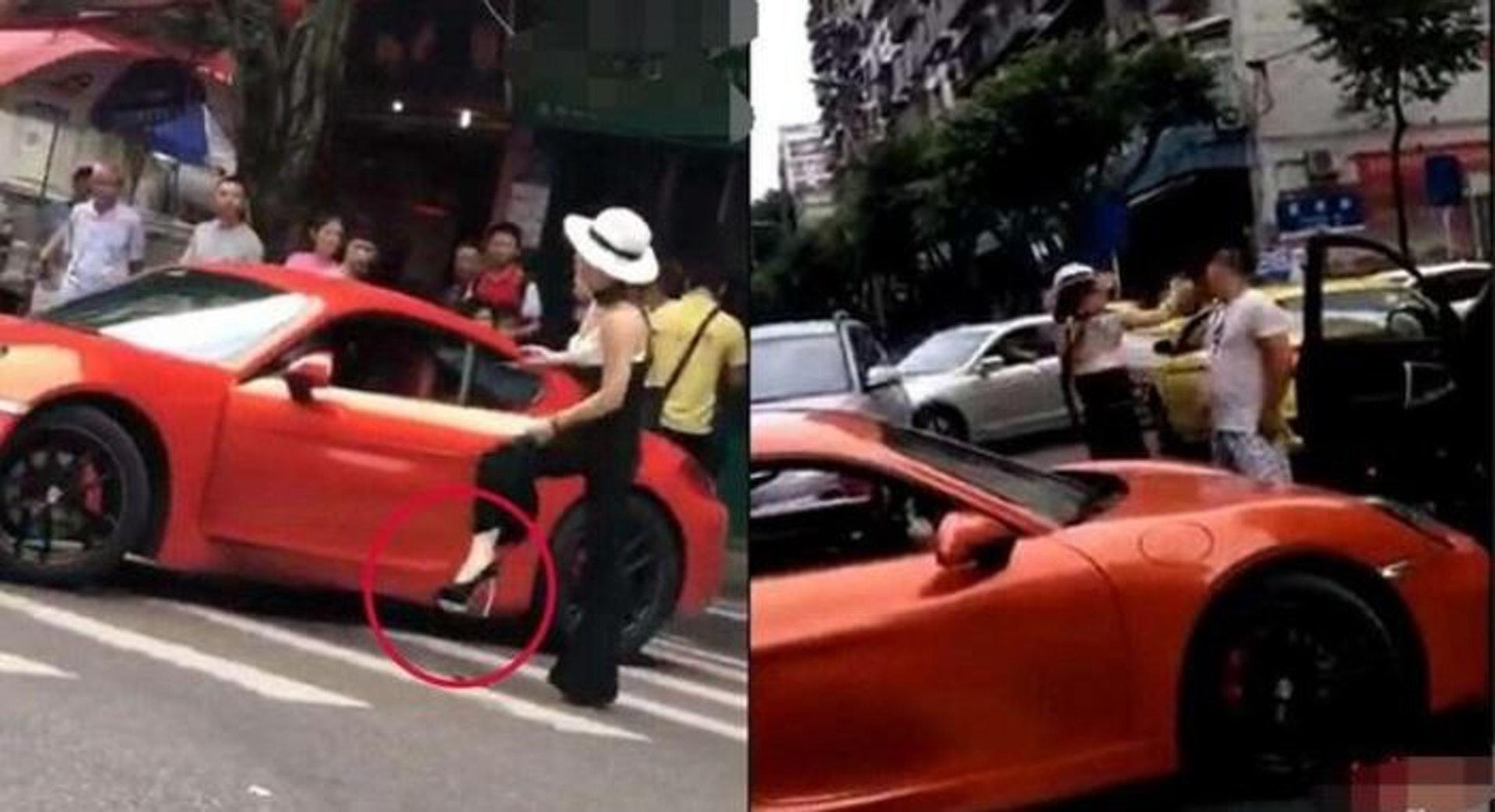 重庆保时捷女车主因交通违法纠纷掌掴男司机。(网上图片)