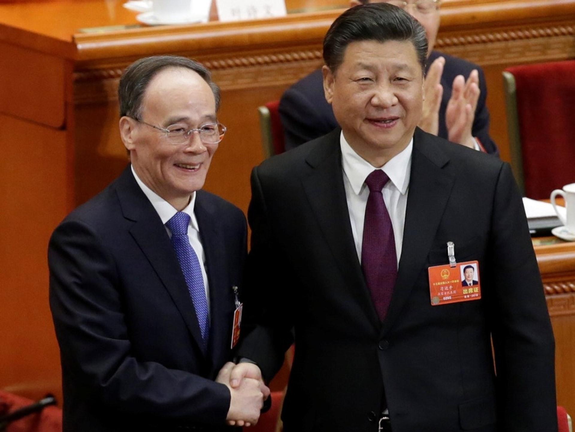 王岐山2018年3月以一名普通中共党员的身份「超龄」(时年70岁)当选中国国家副主席。(资料图片)