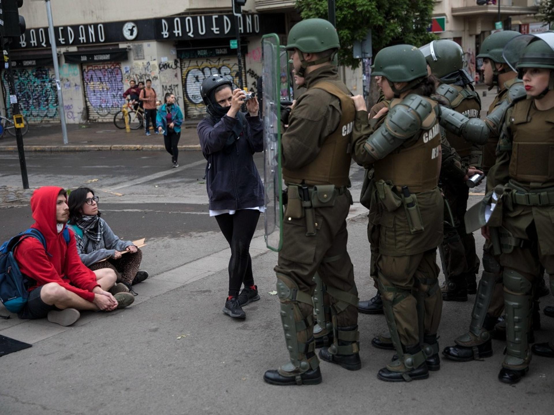 智利抗議活動愈演愈烈。(美聯社)