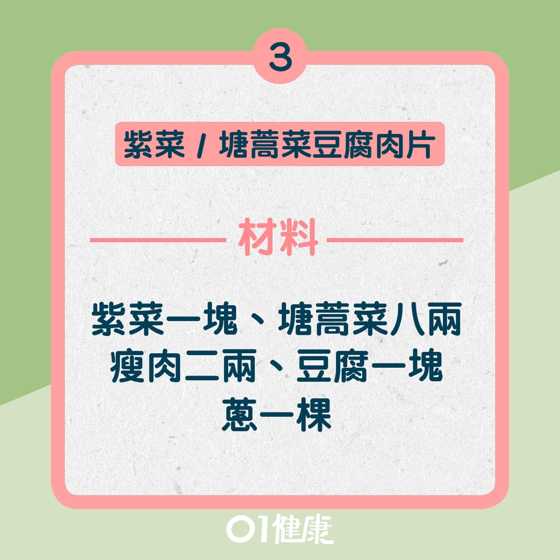 3. 紫菜 / 塘蒿菜豆腐肉片湯:材料(01製圖)