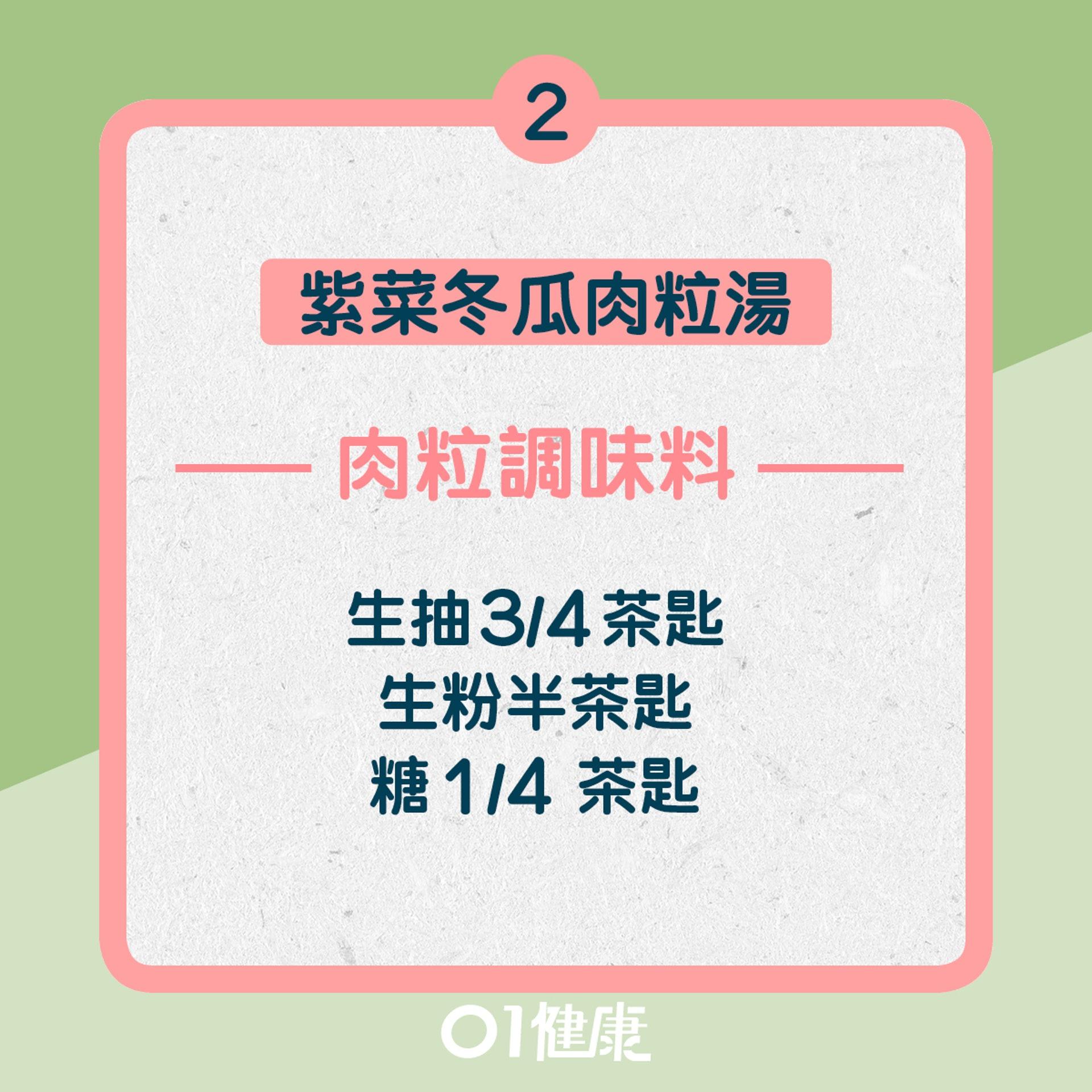 2. 紫菜冬瓜肉粒湯:肉粒調味料(01製圖)
