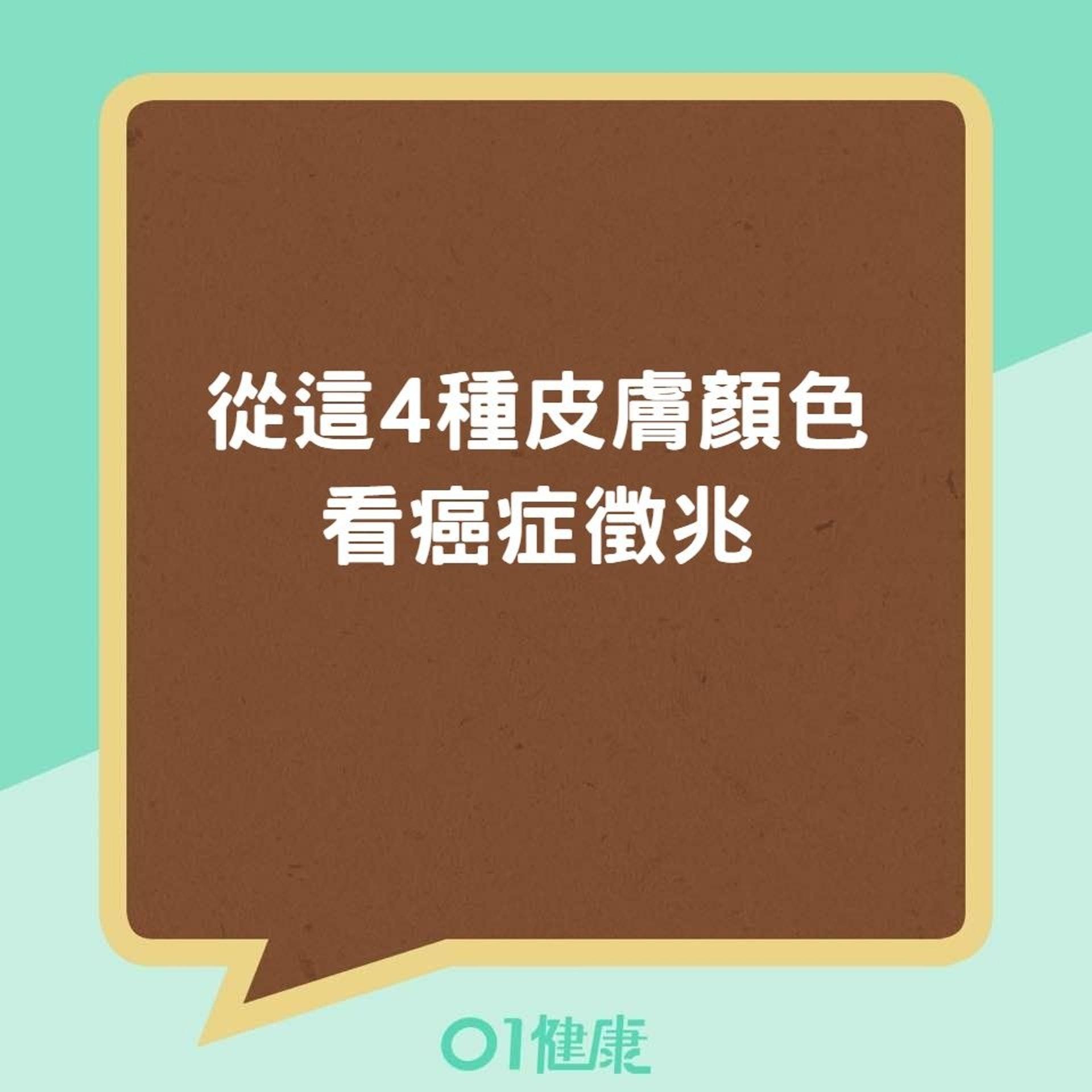 從這4種皮膚顏色看癌症徵兆(香港01製圖)