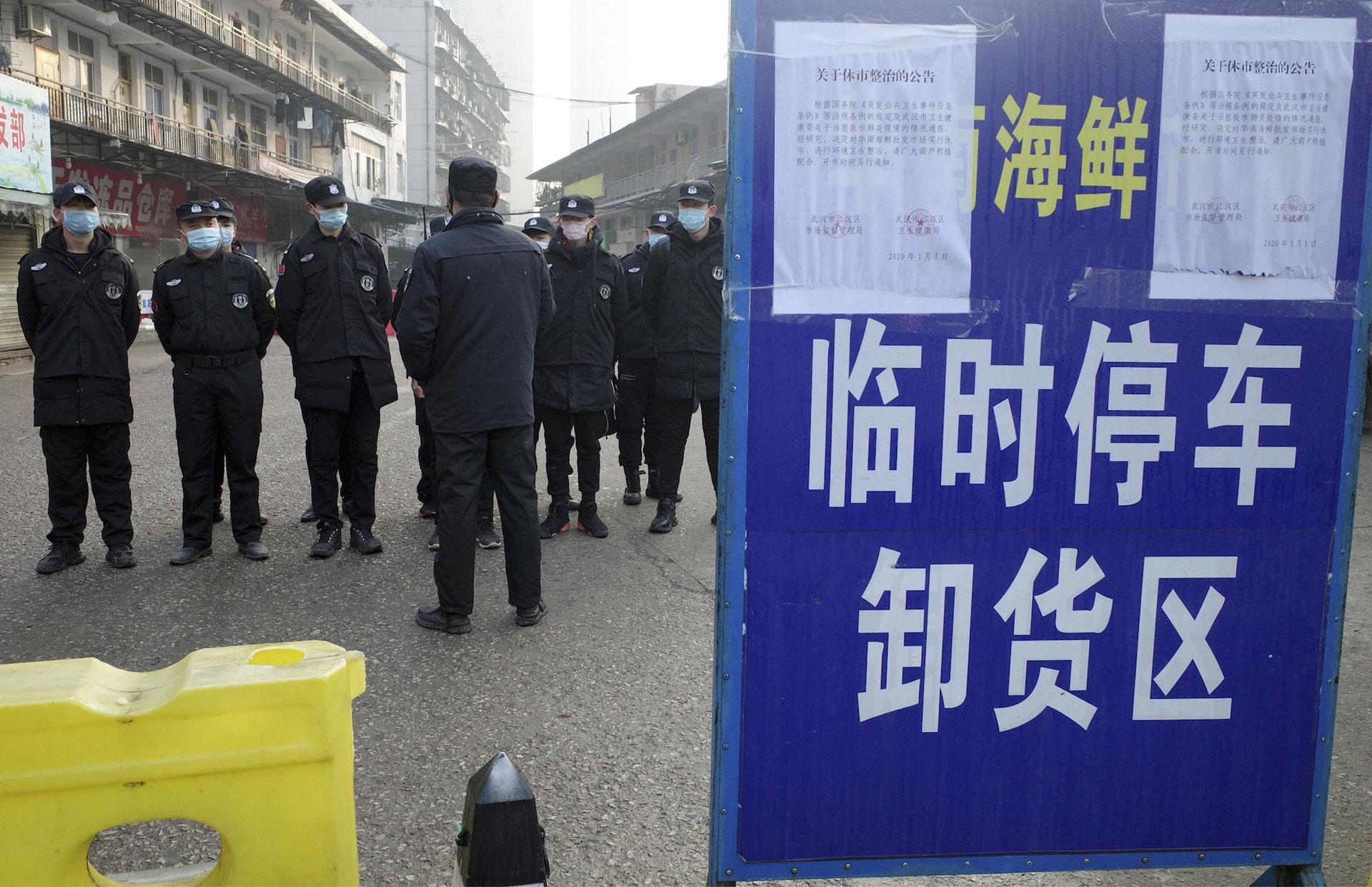 1月8日,武漢肺炎疫情始發地的海鮮市場現已關閉。(AFP)