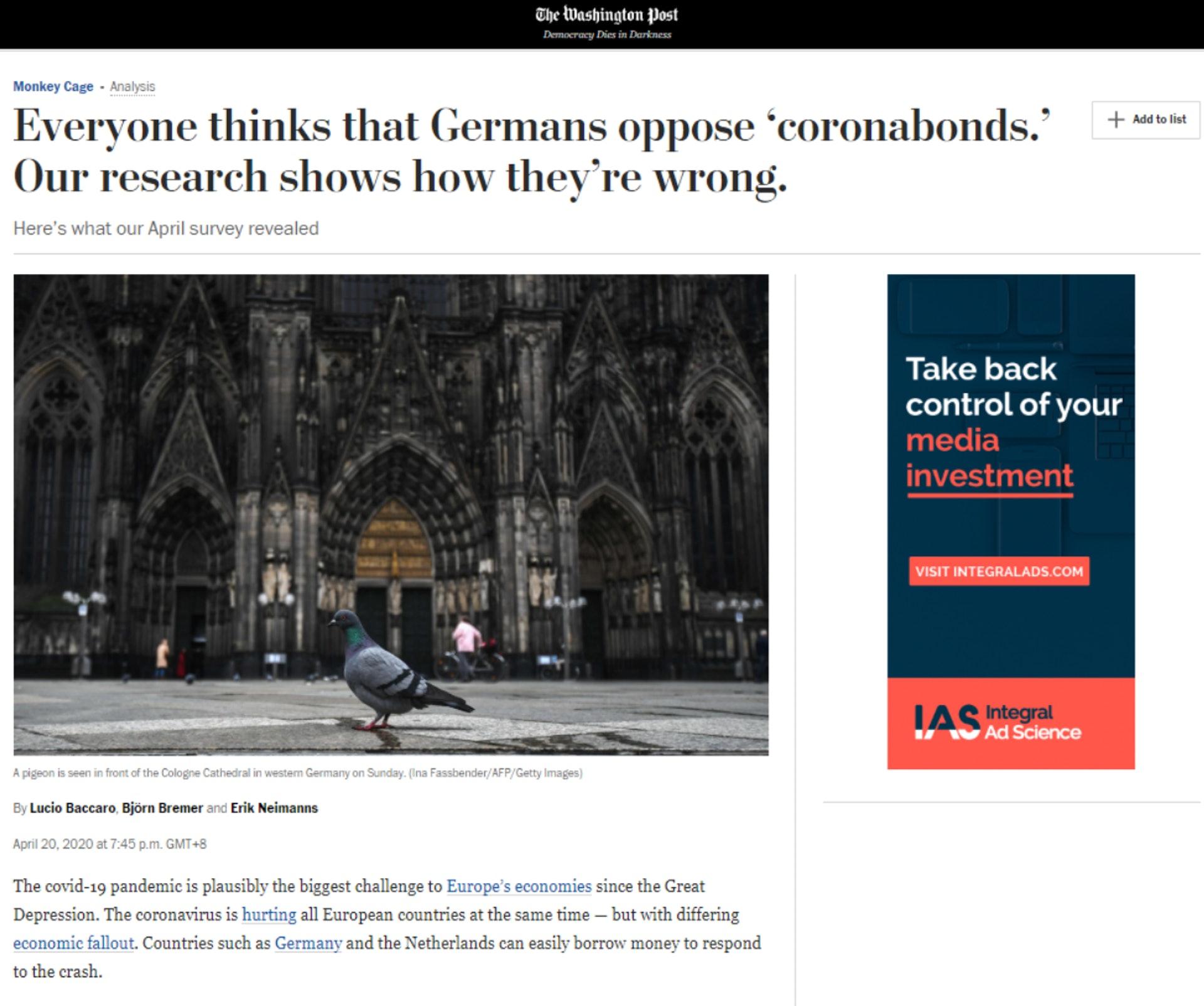 各界普遍认为德国反对共同担债。 然而《华盛顿邮报》4月民调结果显示,如果考虑到意大利可能脱欧的前景,大部分德国受访者并不反对「新冠债券」。 (《华邮》网站截图)