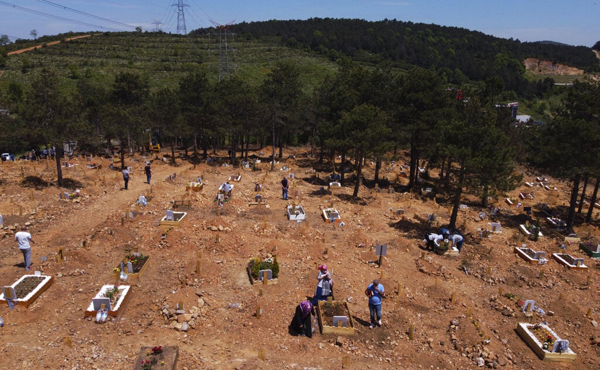 巴西新冠肺炎疫情:圖為5月11日,過去30天死於疫情的人,葬在巴西馬瑙斯一個墓地的新墳。(AP)