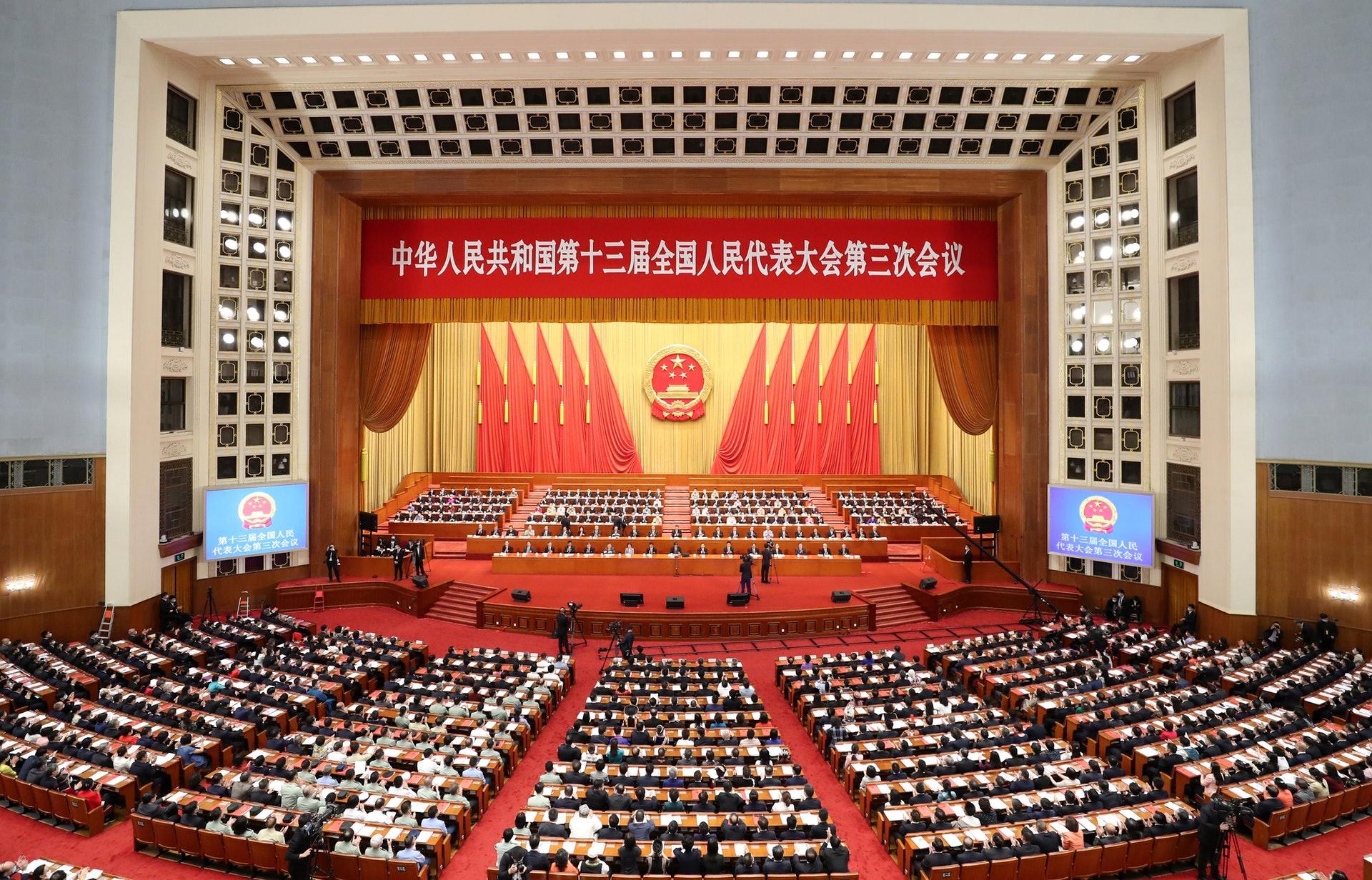 「港版國安法」在十三屆全國人大三次會議的閉幕會上獲得通過。(新華社)