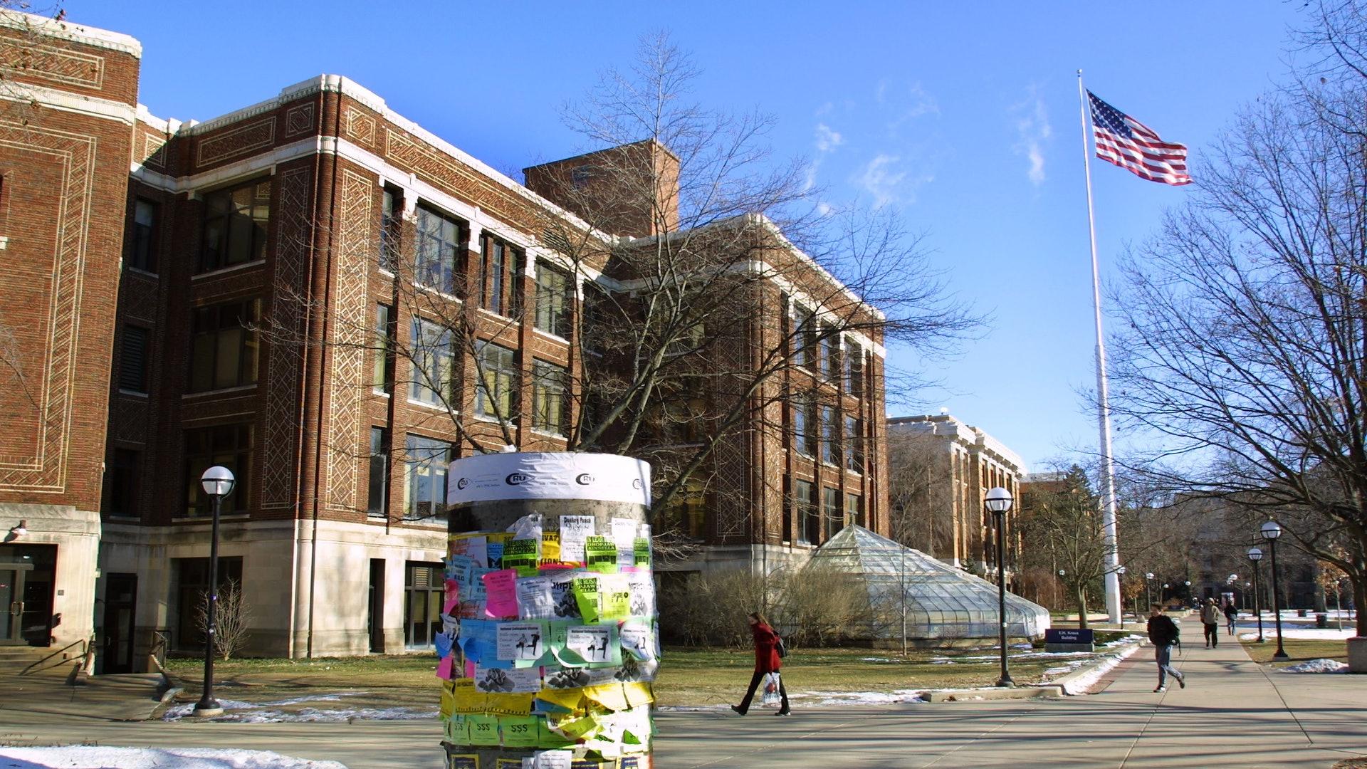 美国大选:第二场总统辩论于10月15日在密歇根大学举行。 图为2003年1月17日,密歇根大学安娜堡校区的面貌。 (Getty )