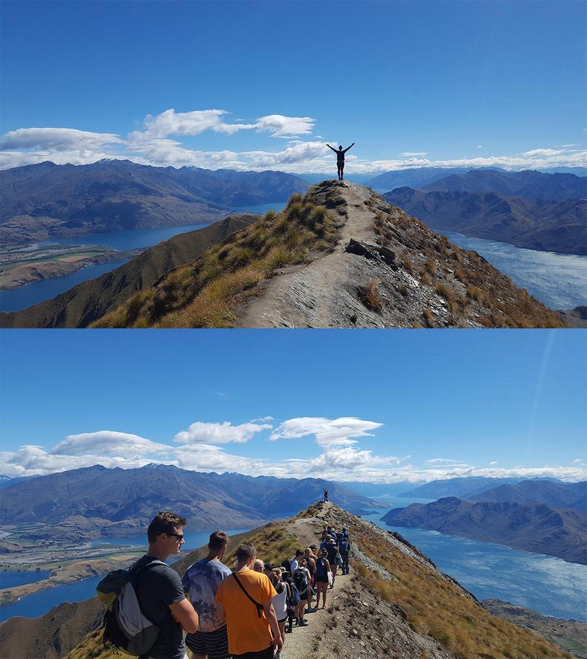 旅客在羅伊峰拍出美照,後面原來有一大條等打卡人龍。(Reddit圖片)