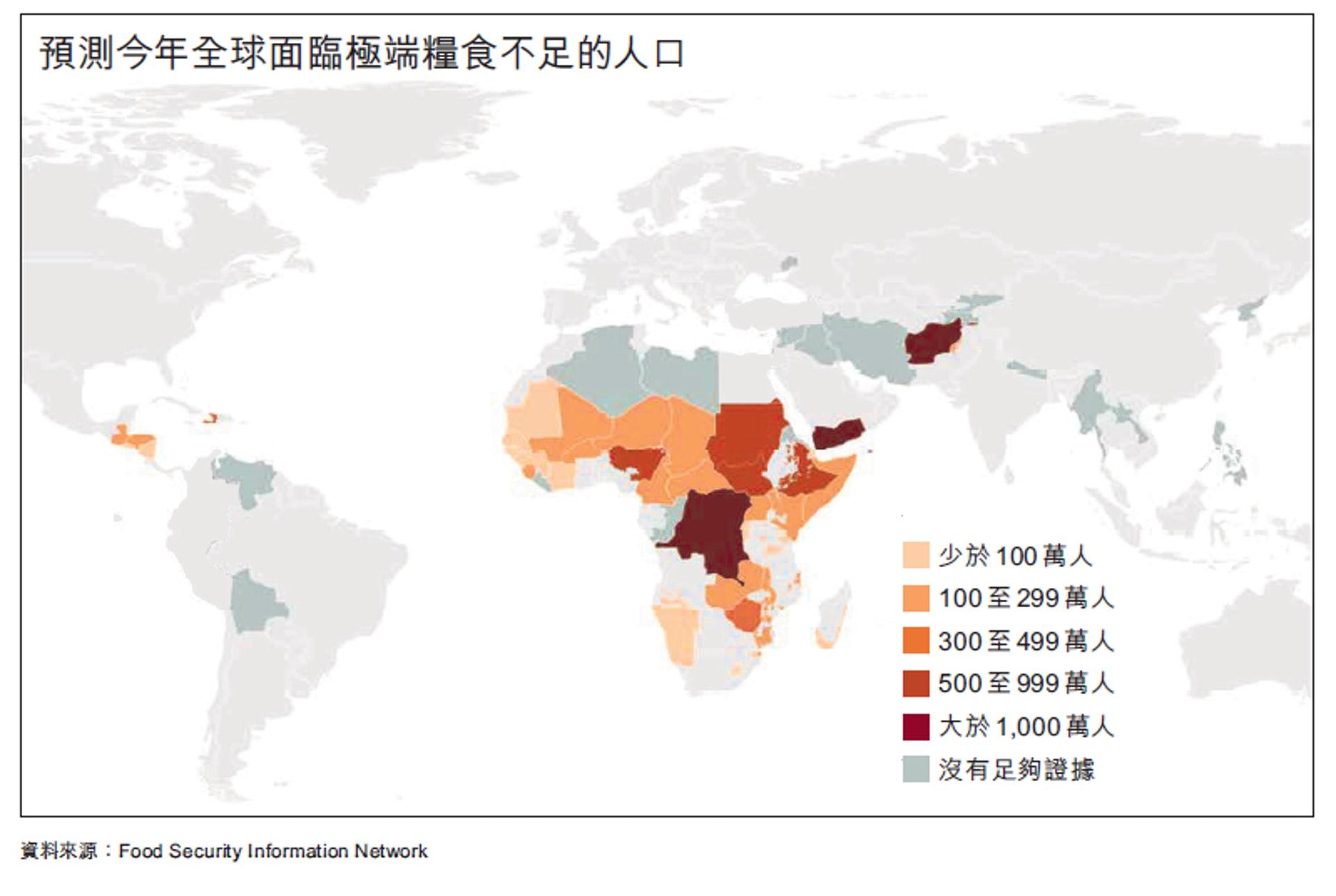 预测今年全球面临极端粮食不足的人口的分布图(01制图)