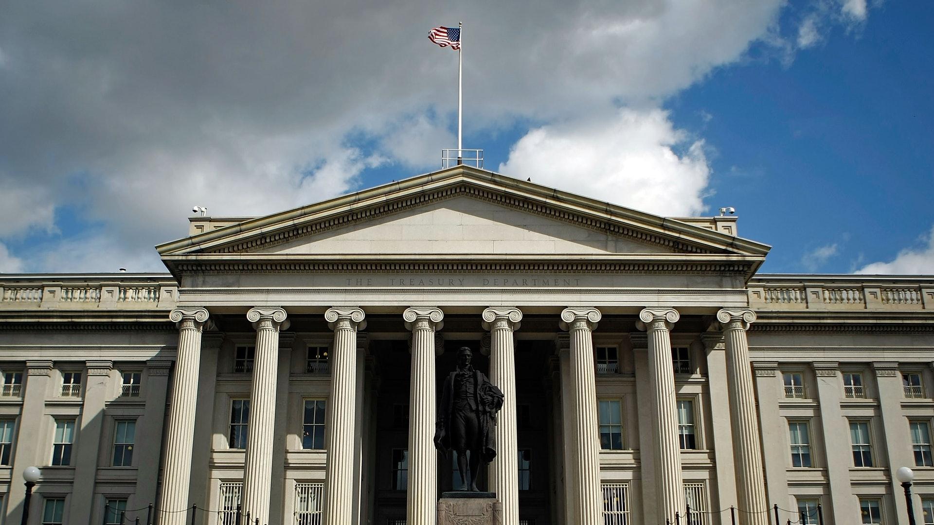图为2008年9月19日,美国首都华盛顿的美国财政部办公室。(Getty)