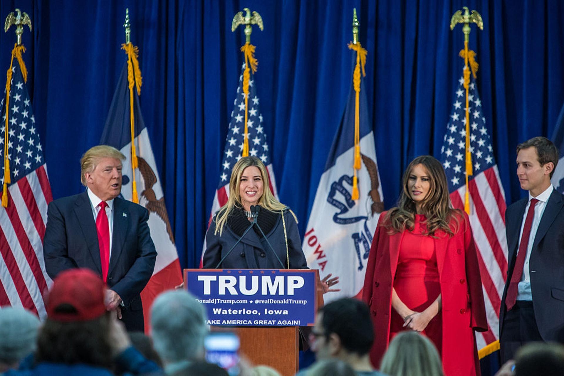 美國第一千金伊萬卡:伊萬卡2016年7月21日在俄亥俄州克利夫蘭快速貸款體育館(Quicken Loans Arena)出席共和黨全國代表大會,為特朗普站台。(Getty)