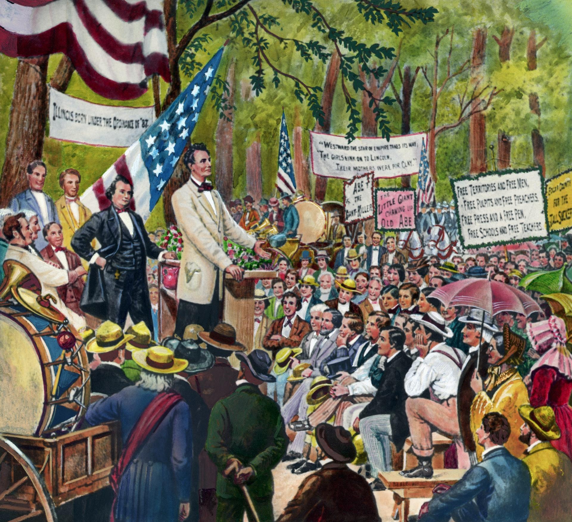 美国总统候选人辩论1:据美国务院网站9月13日发布的文章,林肯1958年挑战时任参议员道格拉斯的议席,二人为此举行过7场辩论。 由于奴隶制是当时一个迫切的问题,辩论的新闻传遍全美各地。 道格拉斯最终成功连任,但林肯在2年后当选美国总统。 图画描绘1858年林肯处于与道格拉斯辩论的场地中。 (Getty)