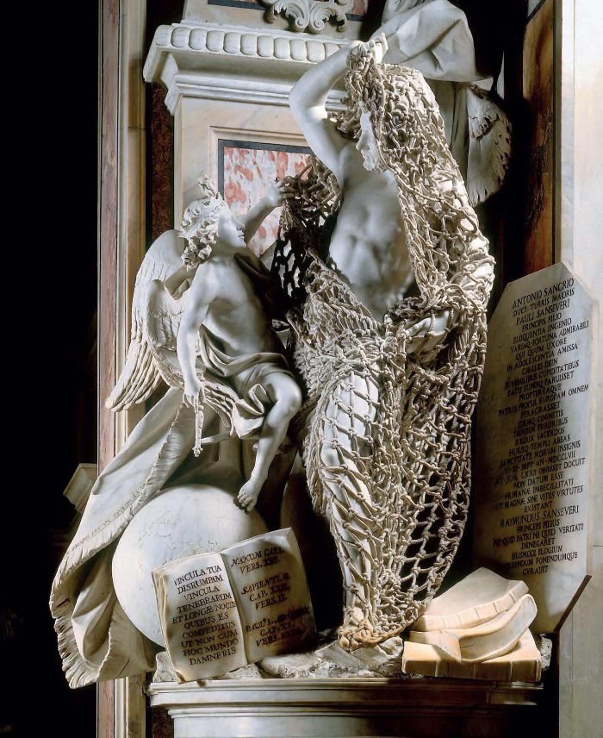 18世紀義大利熱那亞藝術家Francesco Queirolo的傑作《Il Disinganno》(從欺騙中解脫或覺醒)。(圖片擷取自︰geometryofsleep Twitter)
