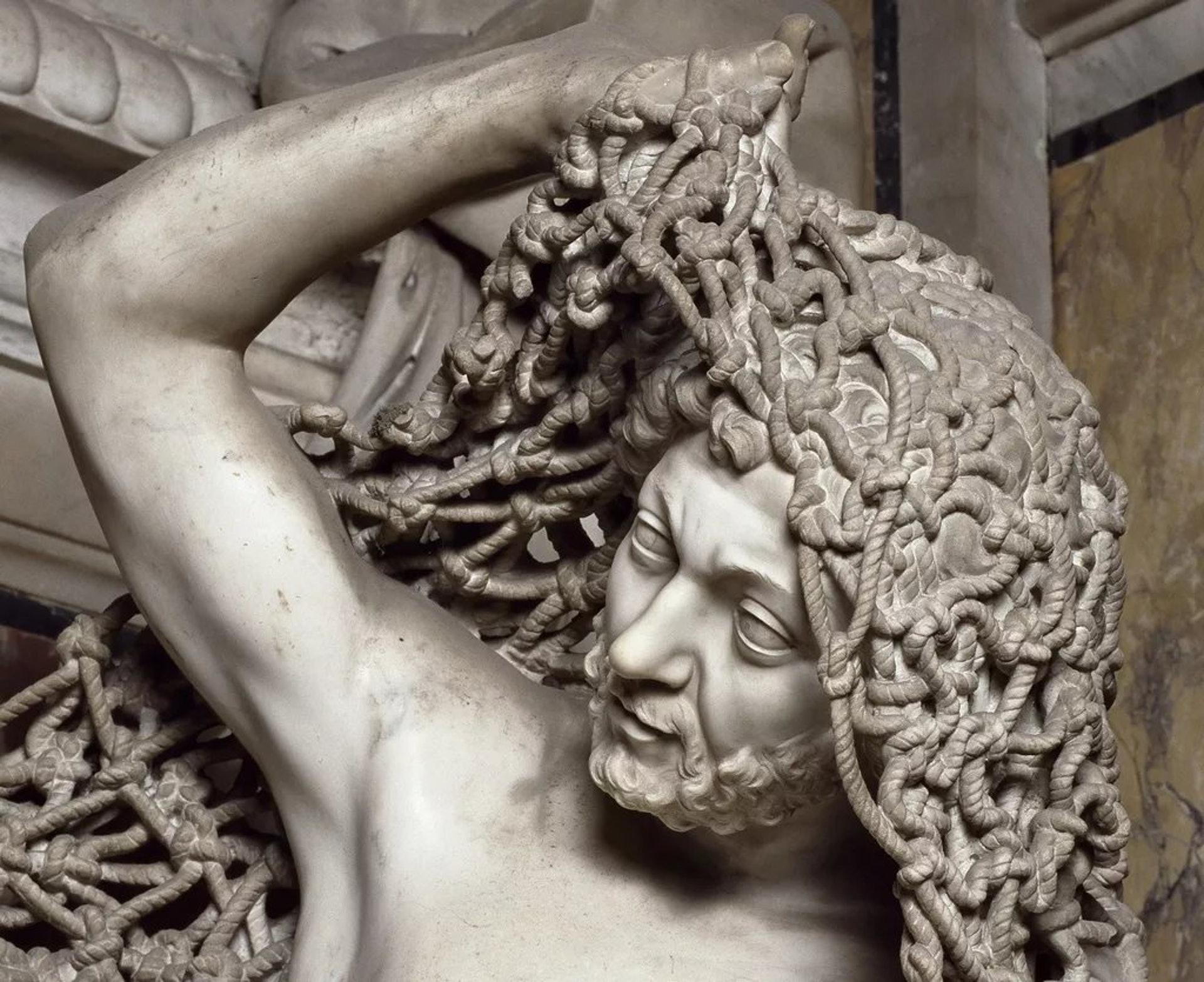18世紀義大利熱那亞藝術家Francesco Queirolo的傑作《Il Disinganno》(從欺騙中解脫或覺醒)。(圖片擷取自︰Azucena Twitter)