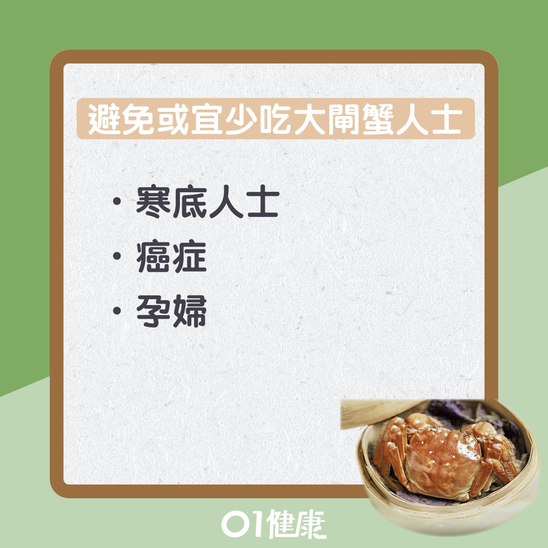 6類人士最好避免或少吃大閘蟹(01製圖)