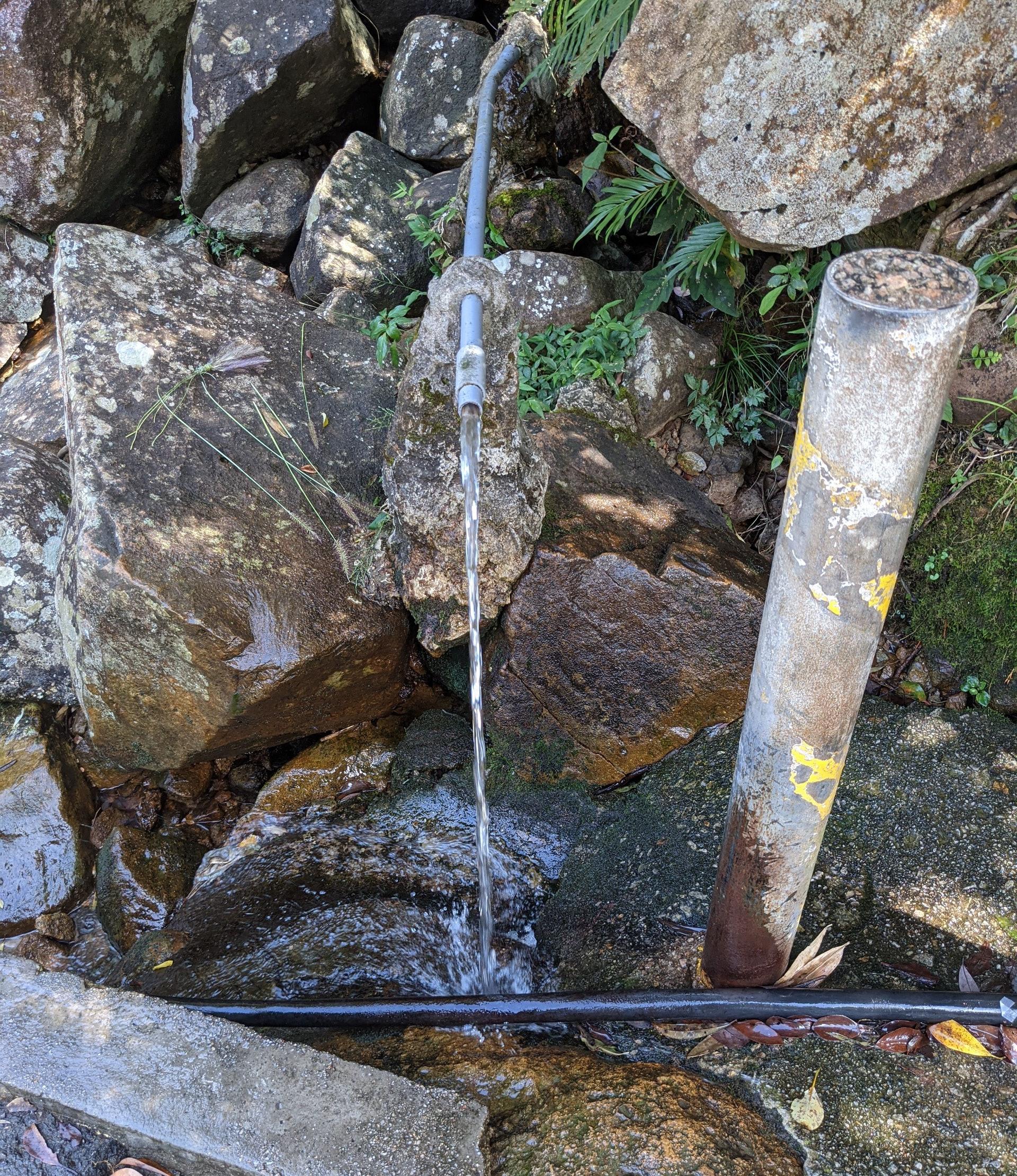 近頂有個水源,不少行山人士都會用山水沖沖手,涼快一下。(李琬瑩攝)