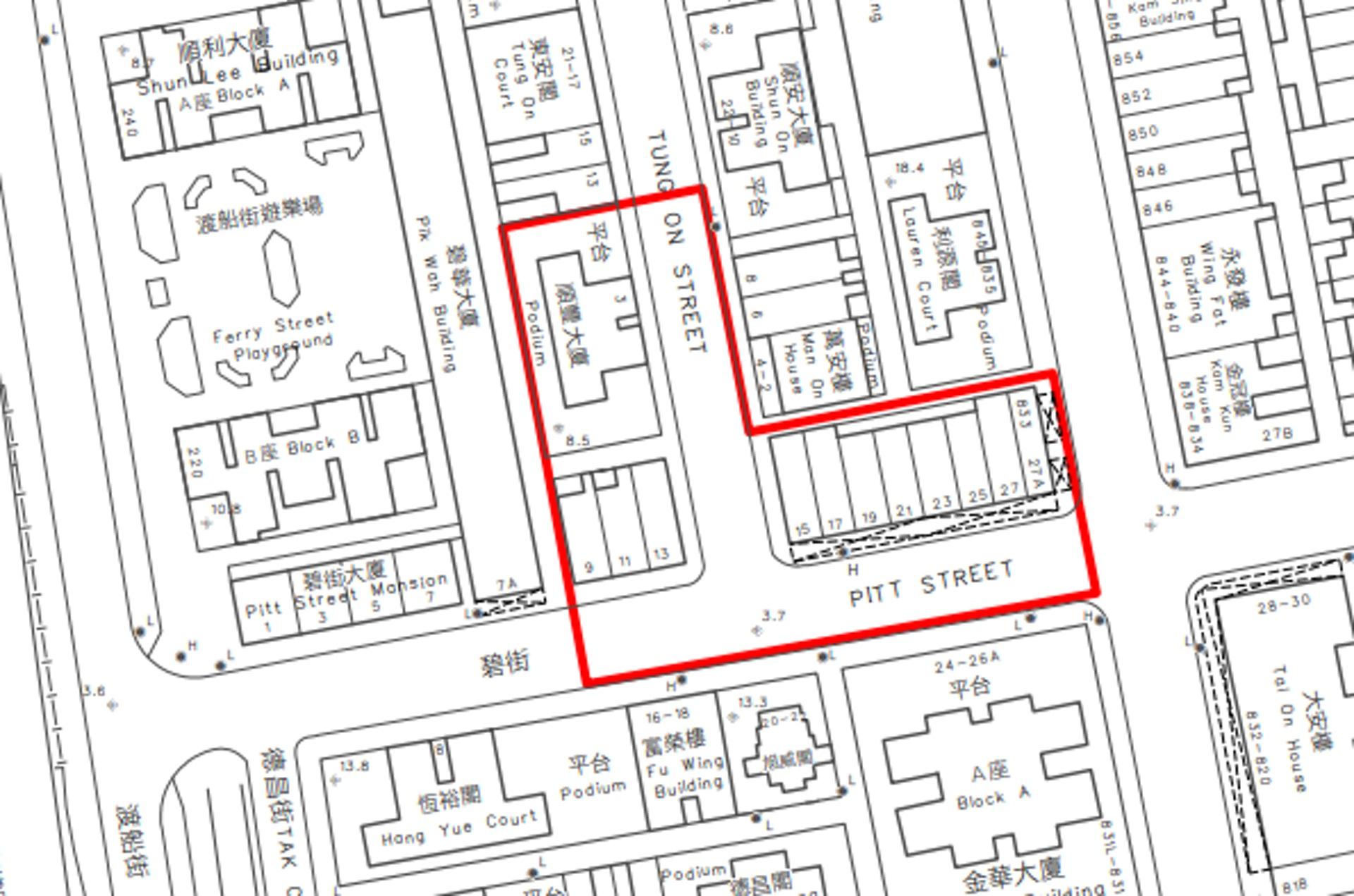 油麻地封區範圍:碧街9-27號和東安街3號