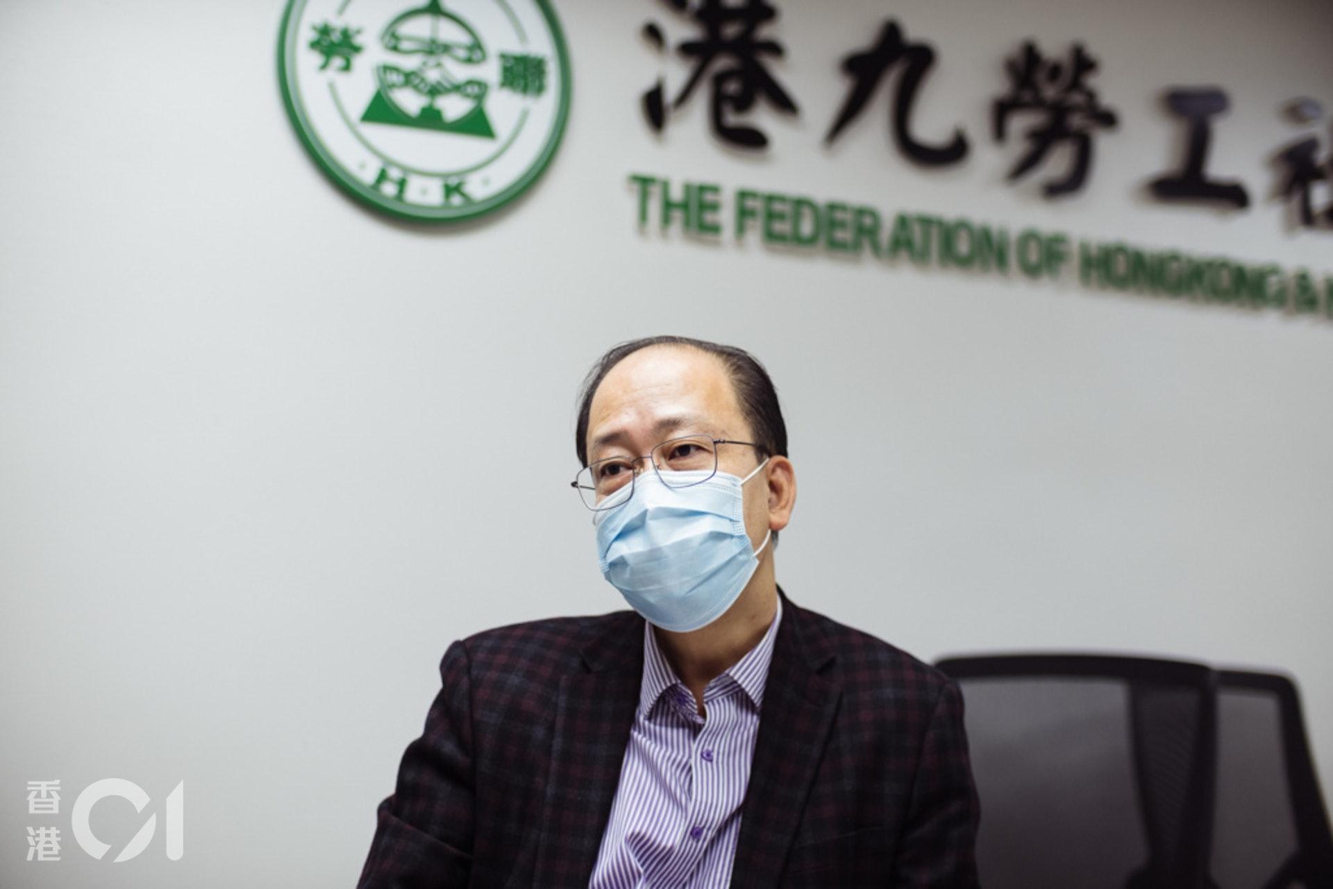 港九勞工社團聯會秘書長周小松指出,工會勢弱,沒有與僱主平等談判的法律保障。(歐嘉樂攝)