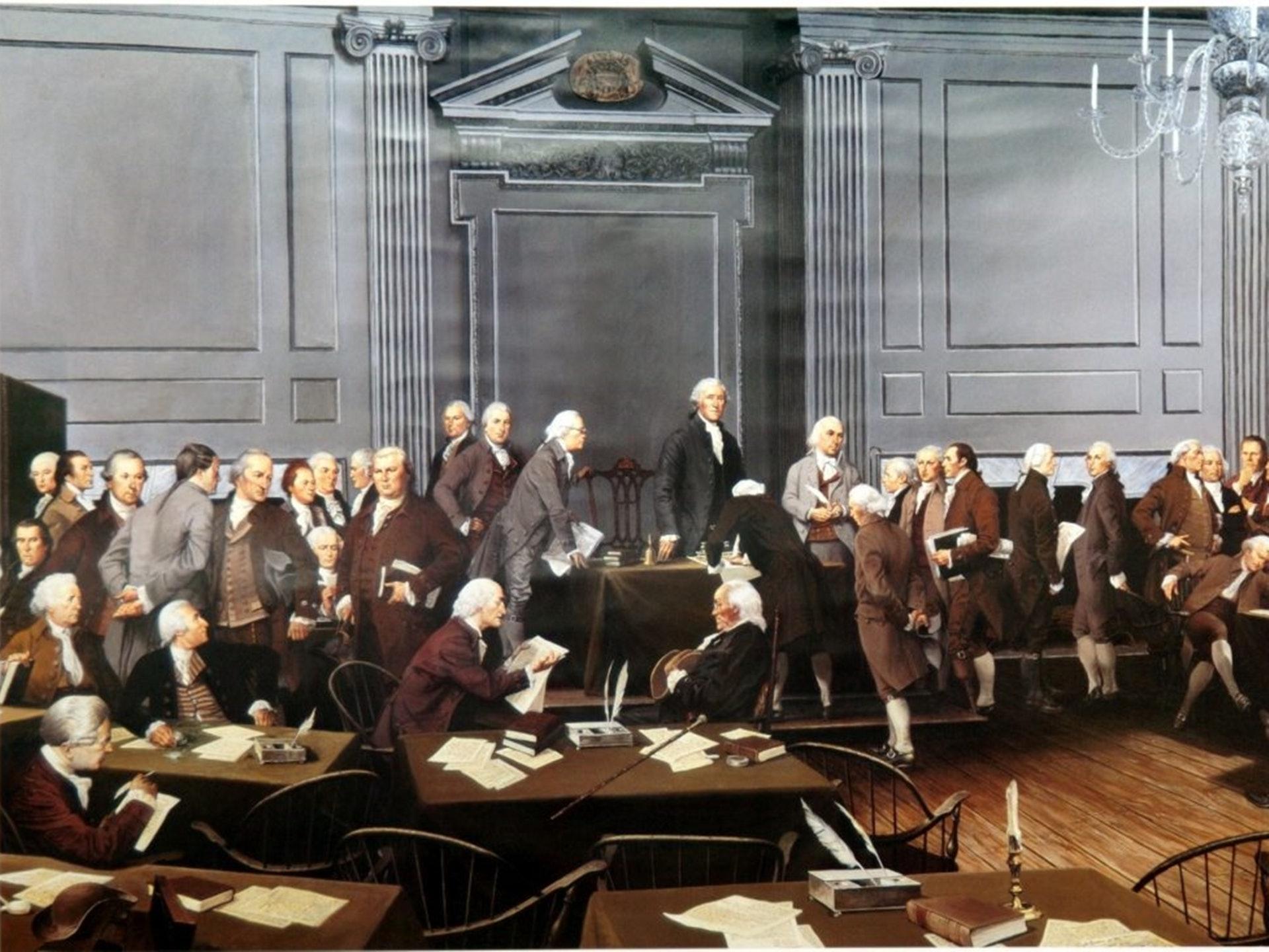 美國製憲代表們簽署憲法的想象圖,乃1987年美國畫家格蘭茨曼(Louis S. Glanzman,1922─2013年)所繪。(Independence National Historical Park)