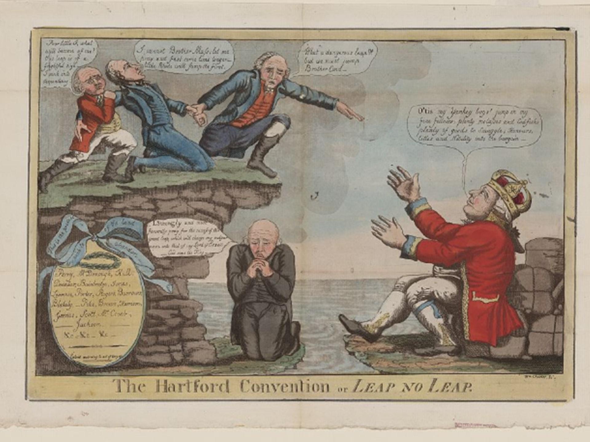 1814年美英戰爭期間,曾力主強化聯邦權力的聯邦黨人,竟為了反戰而於哈特福德密會商議率領新英格蘭地區獨立,消息走漏後引起美國人民的不齒與憤慨,從而令聯邦黨逐漸式微。此為威廉‧查爾斯(William Charles,1776─1820年)所繪製的漫畫,諷刺反戰的聯邦黨人不愛國,向英王(右下)搖尾乞憐。(Library of Congress)