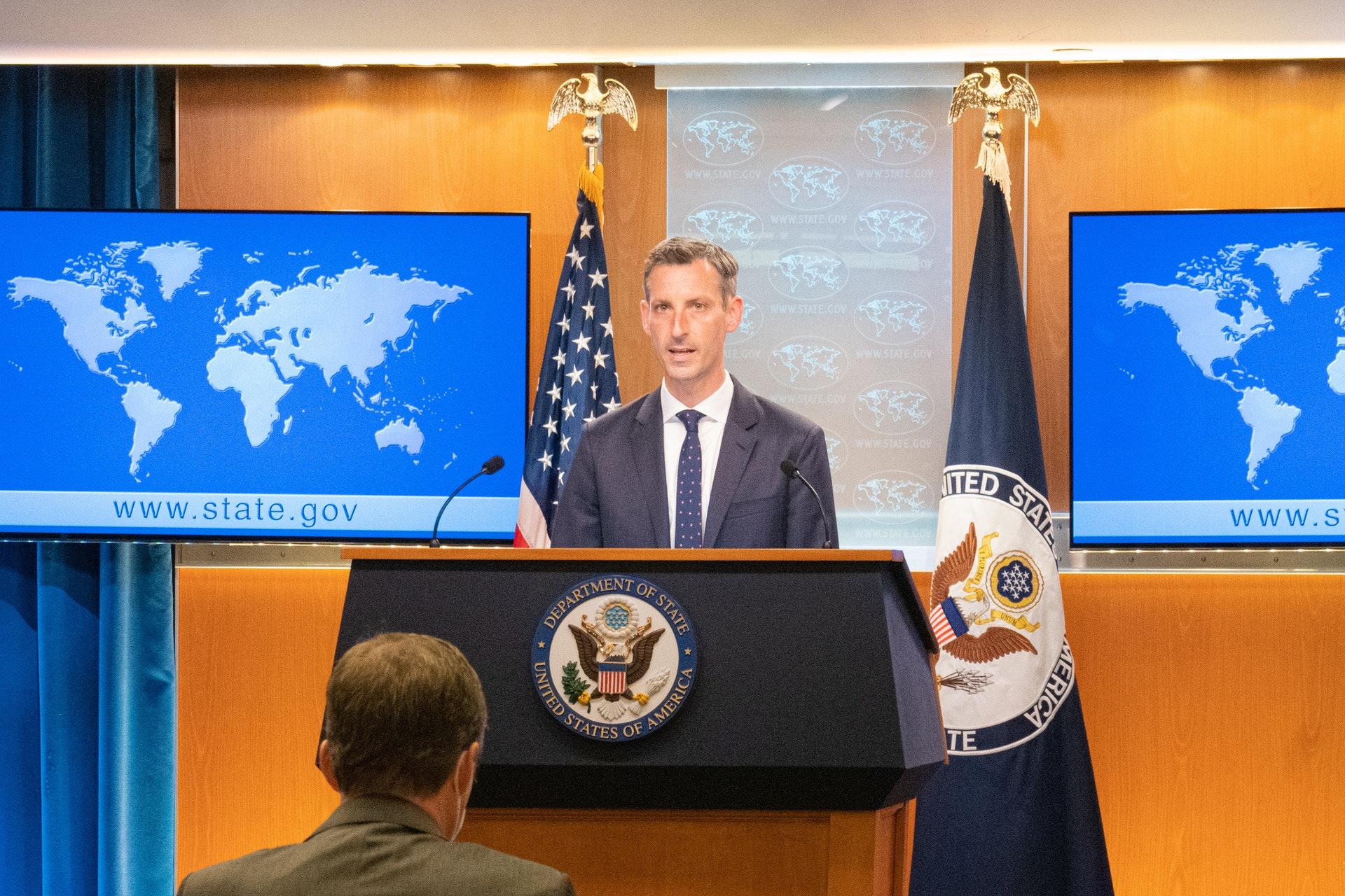 2021年4月7日,美國國務院發言人普萊斯強調美國對台承諾「堅若磐石」。 (中央社)