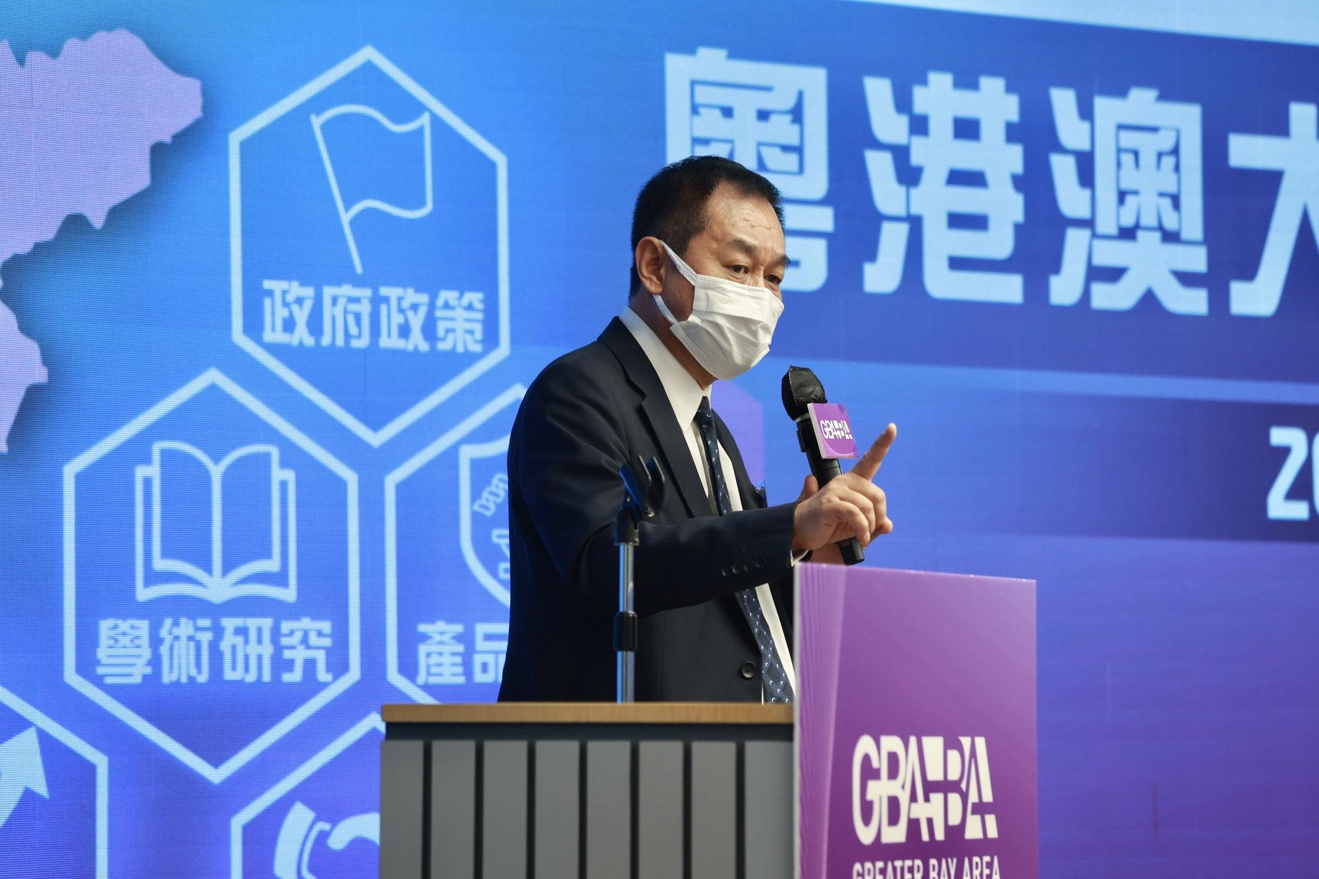 香港檢測和認證局主席于常海稱,國家提出建立香港國際創科中心的定位清晰,香港具科研及國際聯繫的優勢。(黃寶瑩攝)