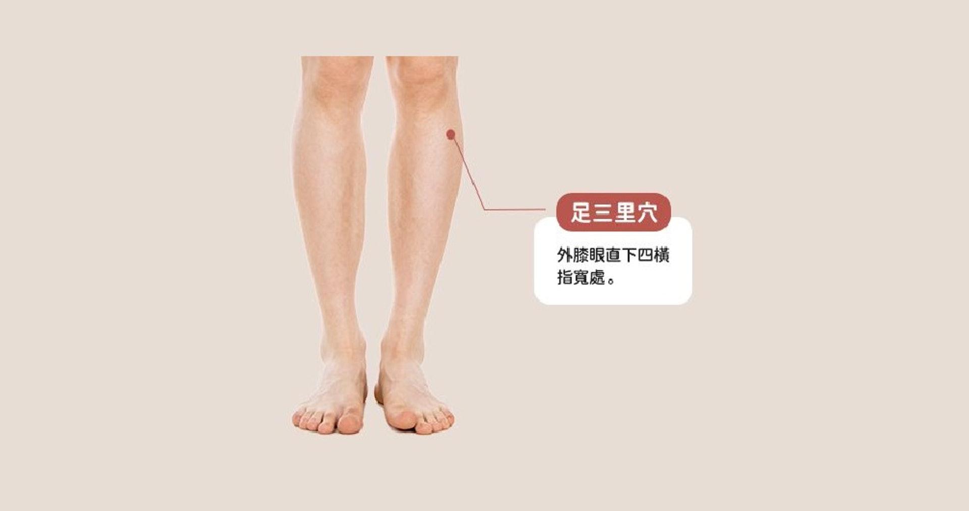 「足三里穴」位於外膝眼下三寸,約四橫指距離的凹溝處,按壓有助增強脾胃的消化功能,從而改善食慾。而且它具有健脾和胃、扶正培元的功效,常按有保健養生作用。(圖片:epochtimes)