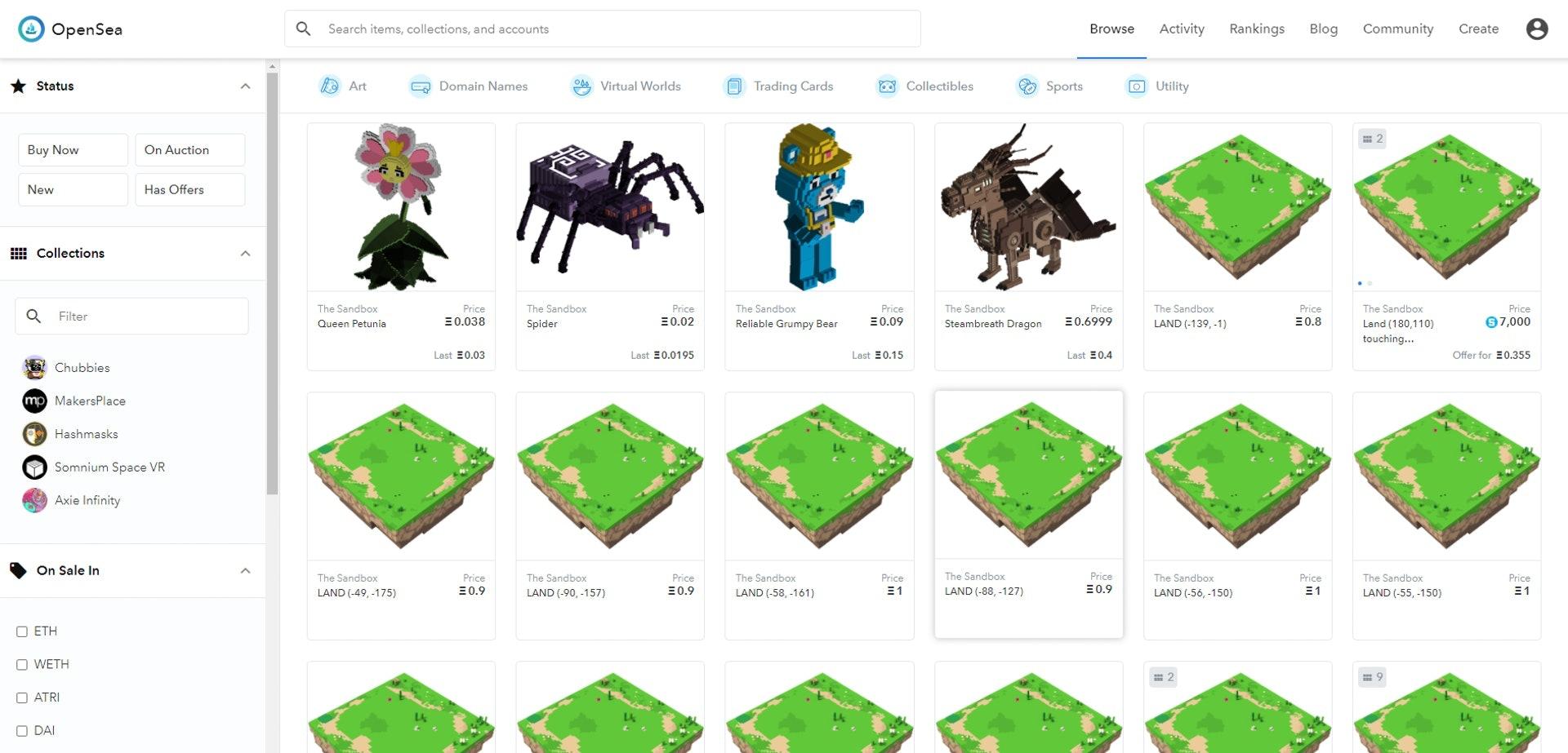 除了在《The Sandbox》遊戲裏交易,NFT交易所OpenSea亦有代理《The Sandbox》中由玩家所創造的角色、土地的交易,以以太幣或SAND計價,方便快捷。(opensea.io)