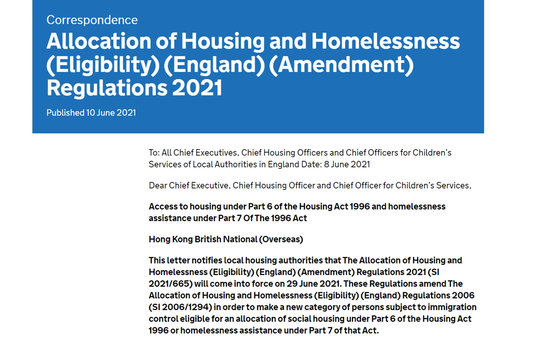 英國住房、社區與地方政府事務部2021年6月10日發出的信件(網站截圖)