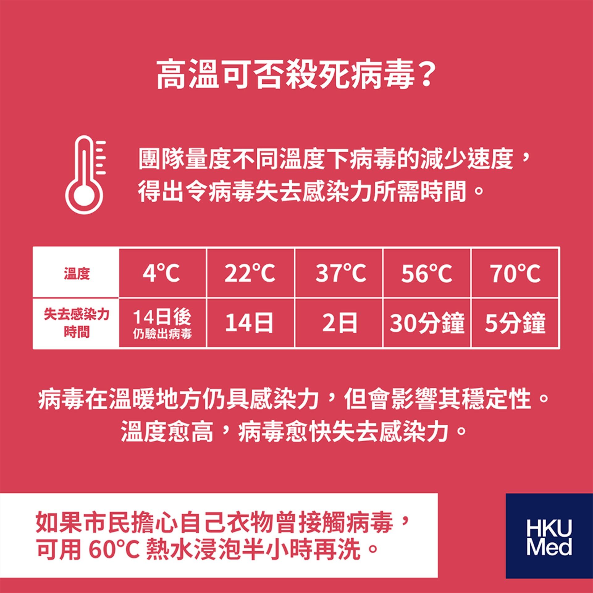 在不同溫度下,新冠病毒的存活情況。(圖片:港大醫學院)