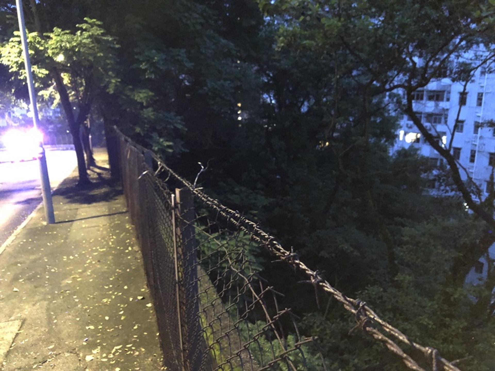 怡景道山邊設有鐵絲網。(張家豪攝)