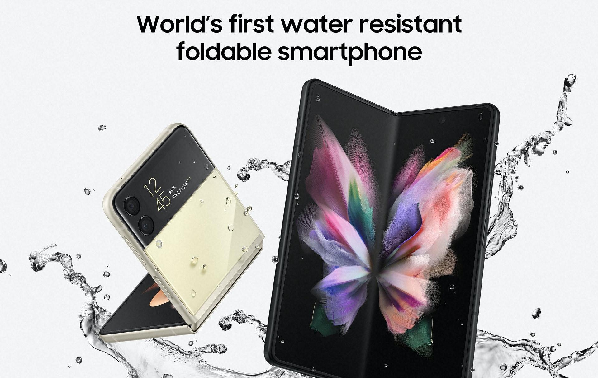 今代 Galaxy Z Fold3 及 Flip3 的機身物料及設計亦加強耐用度,除了採用比上代強 10% 的鋁金屬物料,更首次加入抗水能力,認證等級為 IPX8、即可以在 1.5 米水深沉浸 30 分鐘。(圖 Samsung)