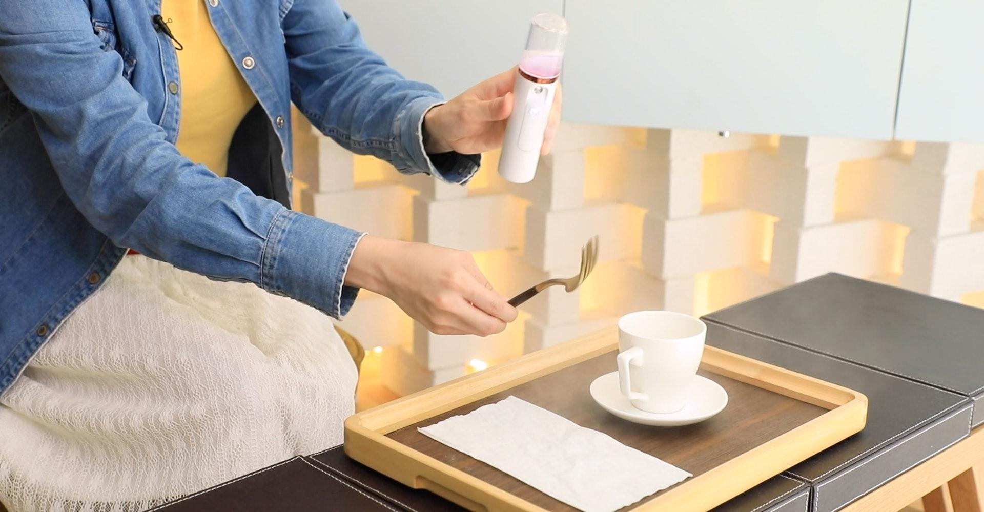 O°Airject可以噴在任何物件及餐具上作消毒(圖片:OᵒAirject)